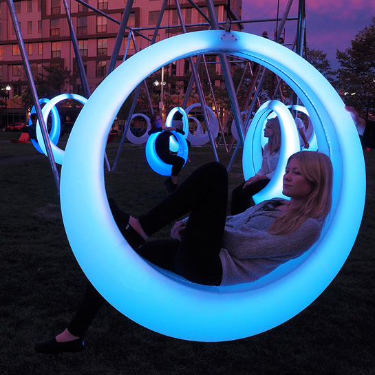 ColorChanging Hammocks Swing on 20 LEDLit Circular