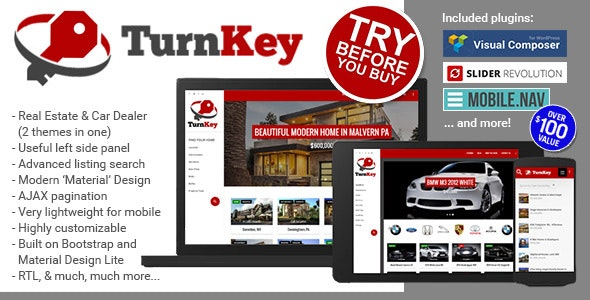 TurnKey Real Estate and Car Dealership Responsive Material Design WordPress Theme 1