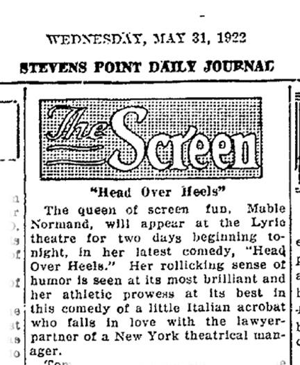 Marilyn's notes regarding HEAD OVER HEELS (Goldwyn 1922)