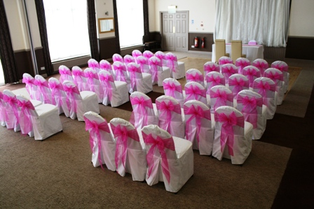 chair covers pink wedding cover hire rotherham amberly s blog white with hot oganza sashes dressed for a civil