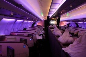 Interior of Virgin Atlantic upper class suite airplane
