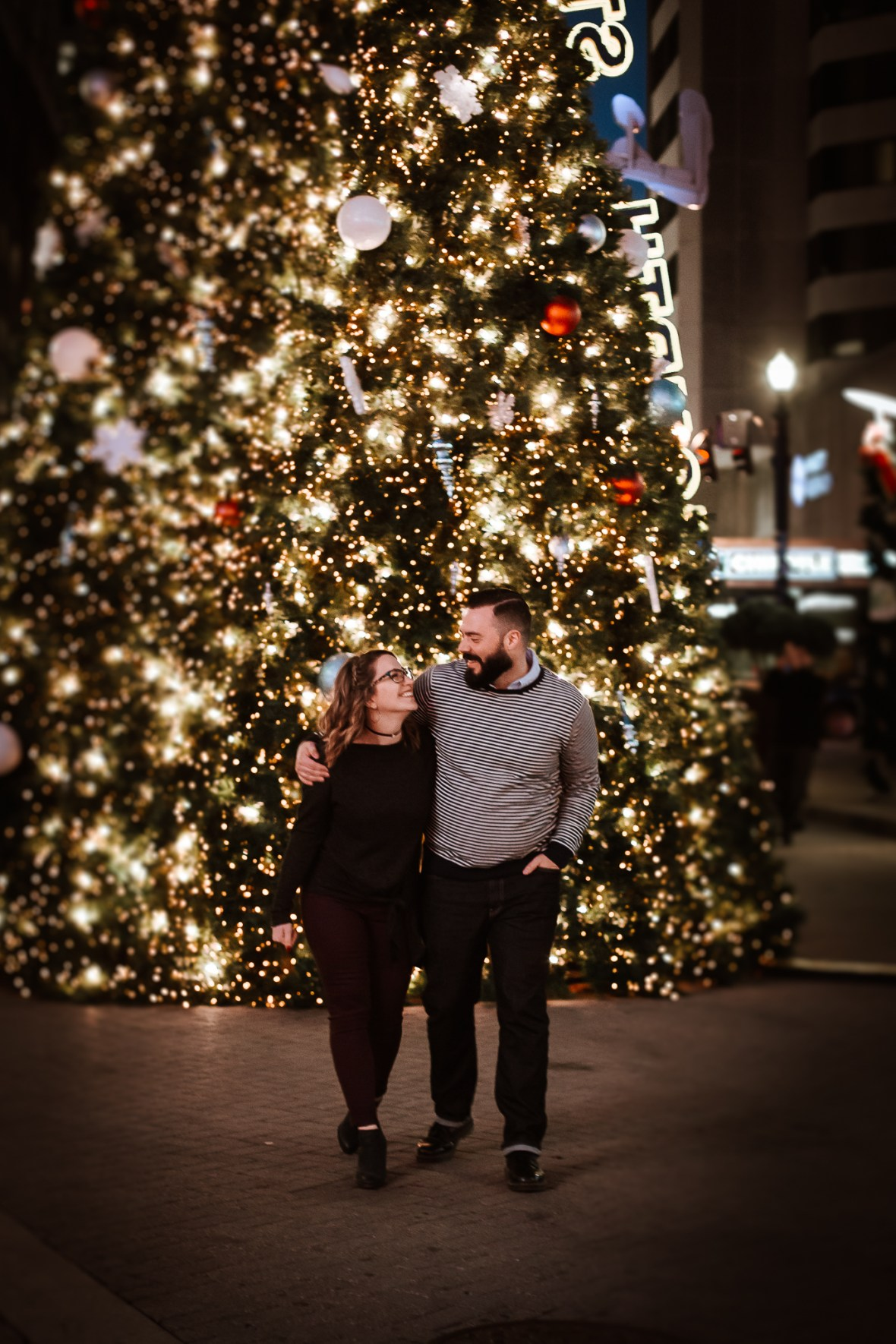 Christmas Downtown Louisville Engagement Photography