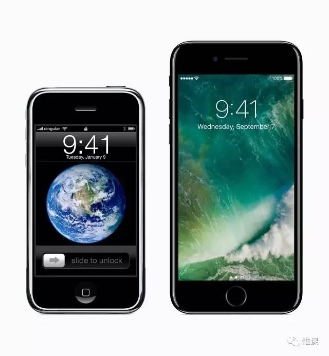 初代 iPhone 和 iPhone 7 Plus 对比