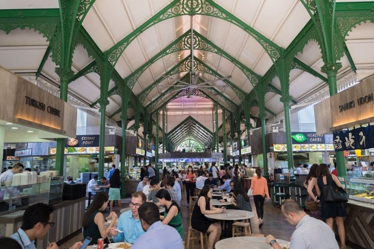 People eating at the Telok Ayer Hawker Centre - Singpore