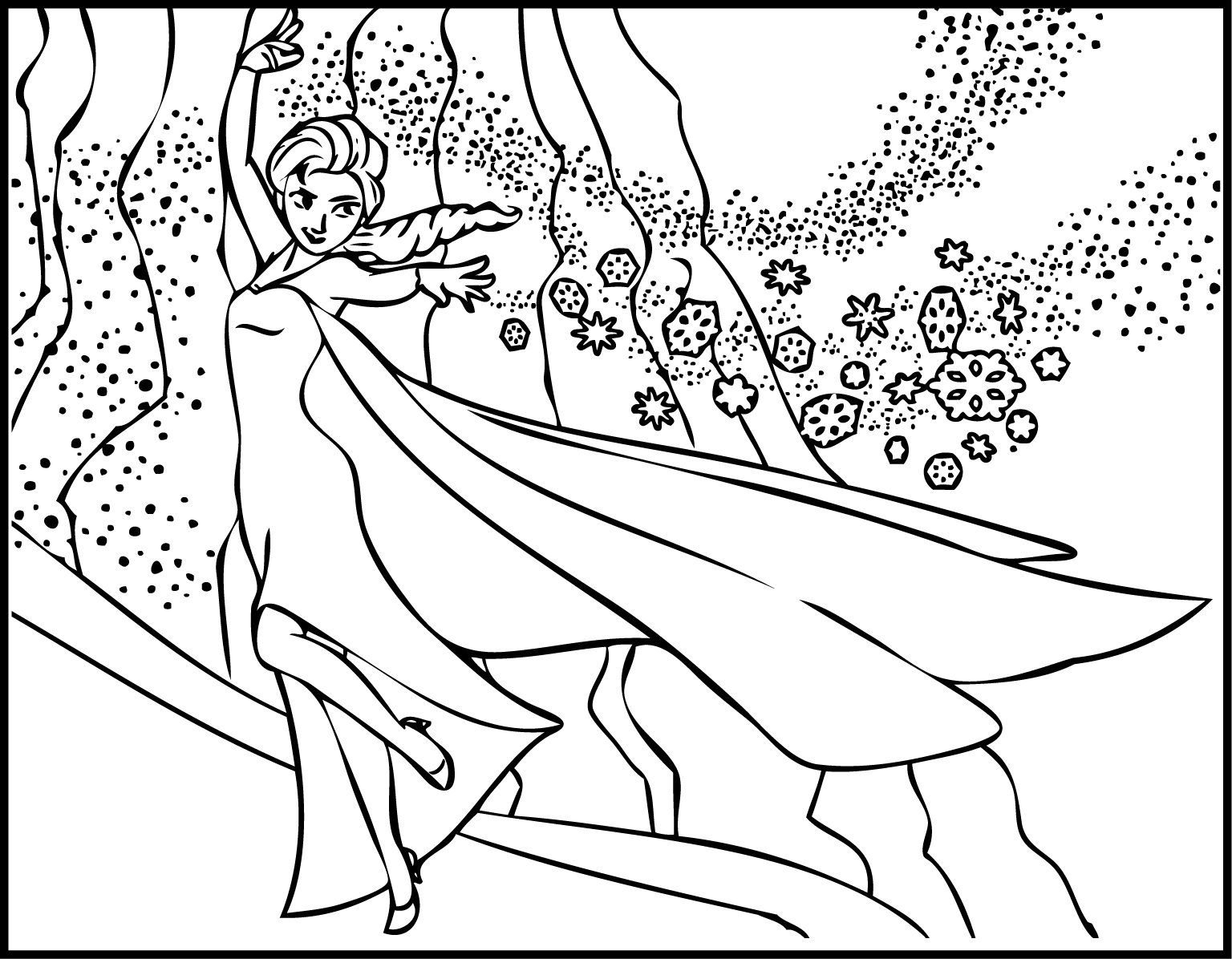 Elsa The Snow Showing Magic Coloring Page Wecoloringpage