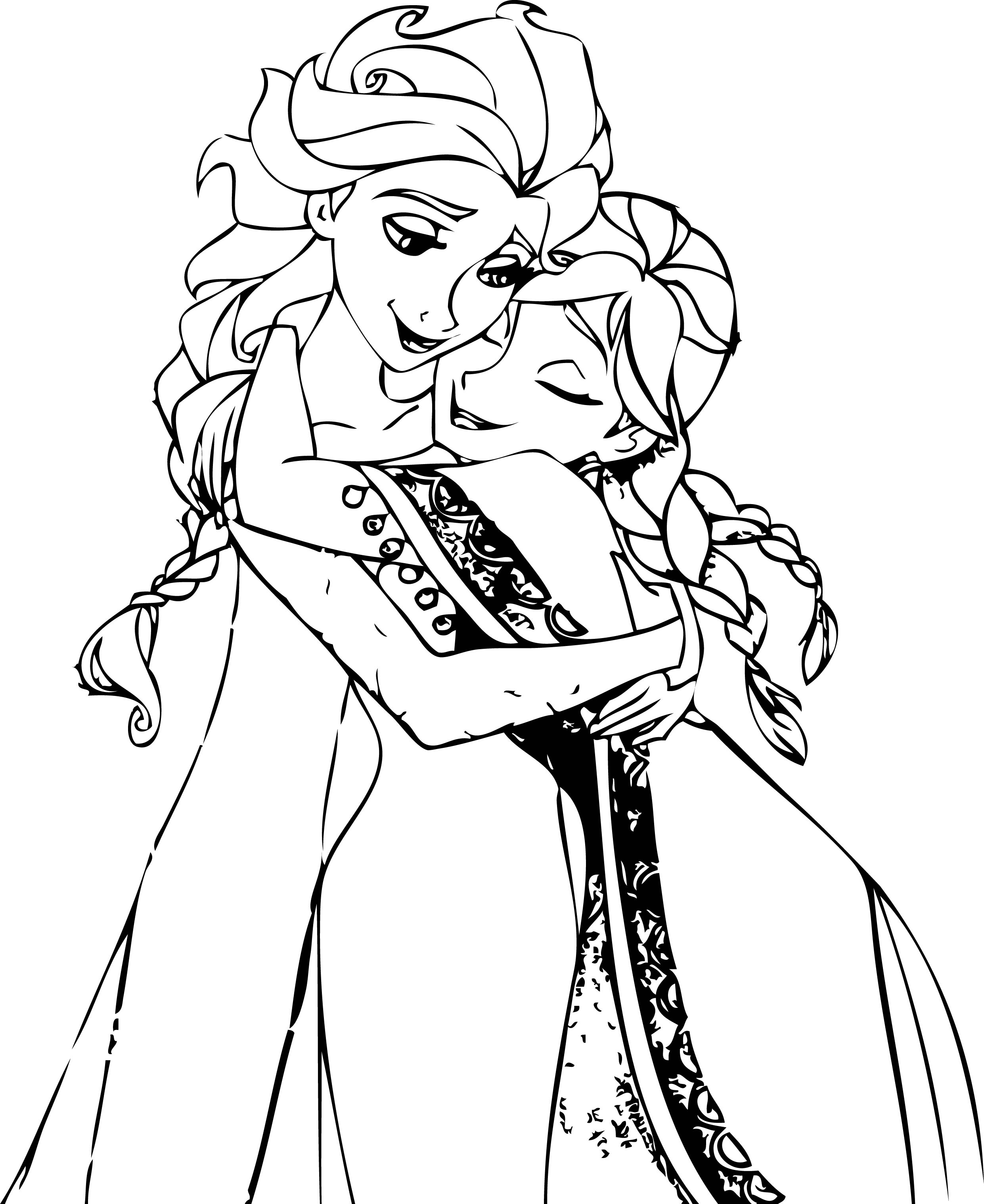 Elsa And Anna Hug Coloring Page Wecoloringpage