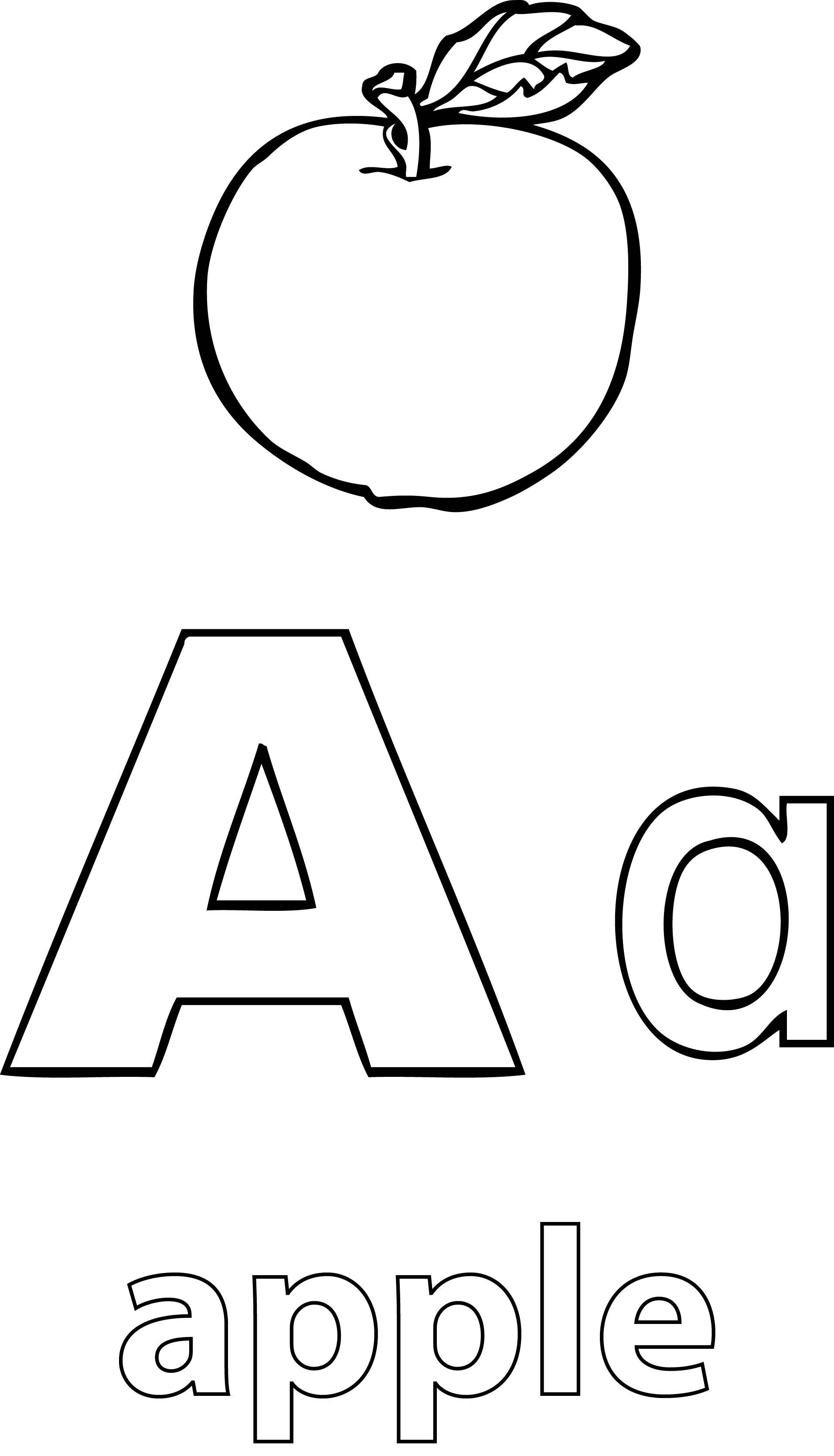 A Alphabet Apple Coloring Page