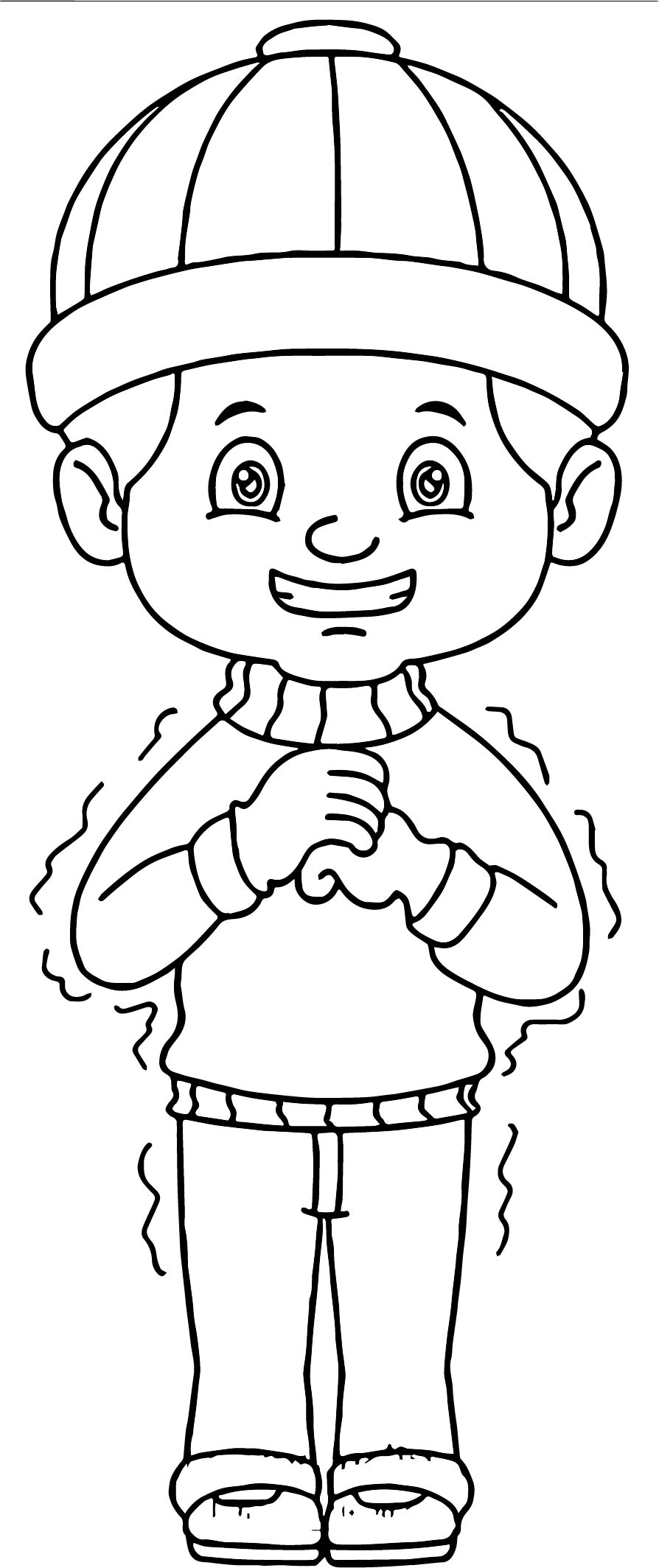 Boy Wearing Hat Gloves Shivering Winter Coloring Page