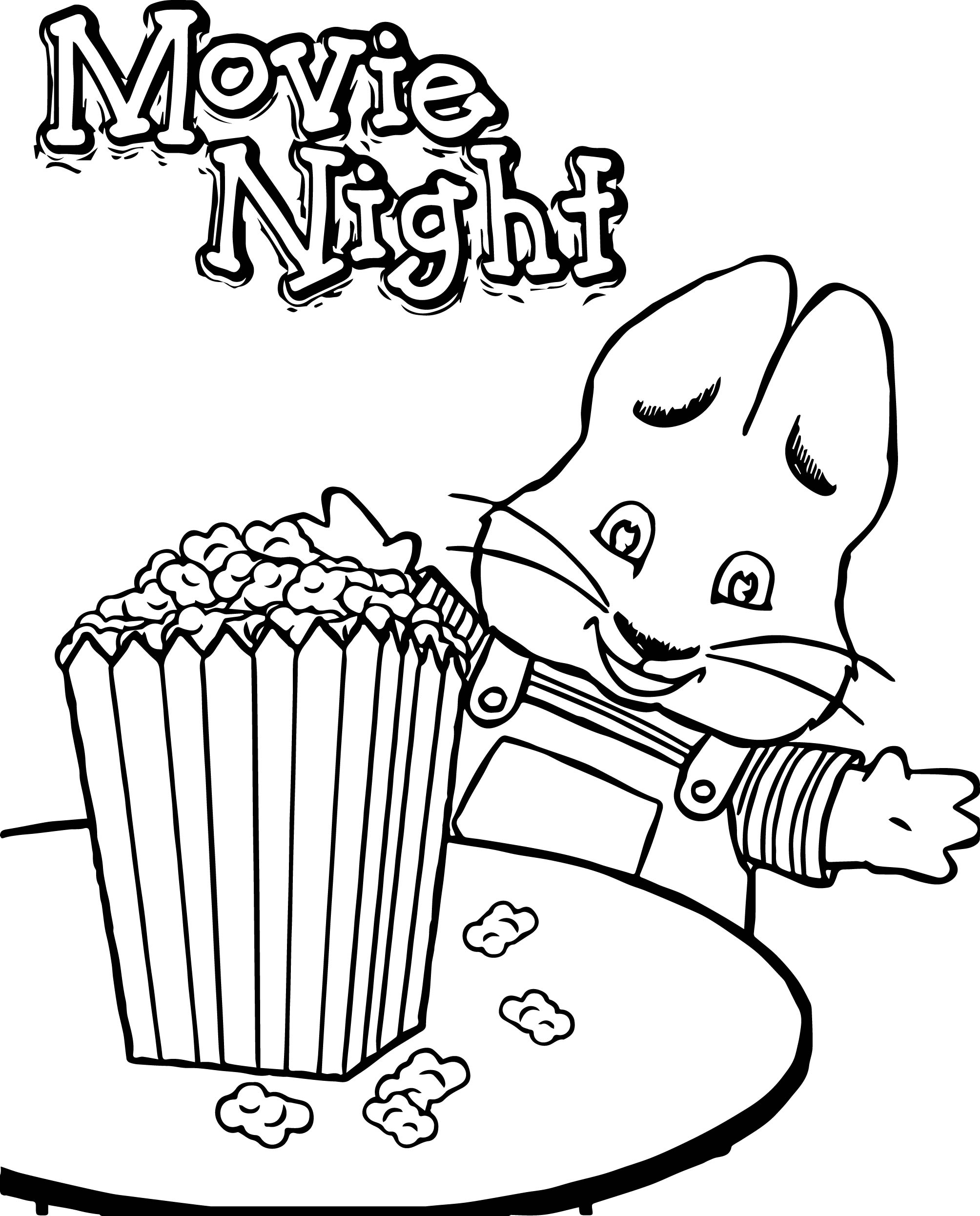 Max Ruby Movie Night Eat Popcorn Max And Ruby Coloring