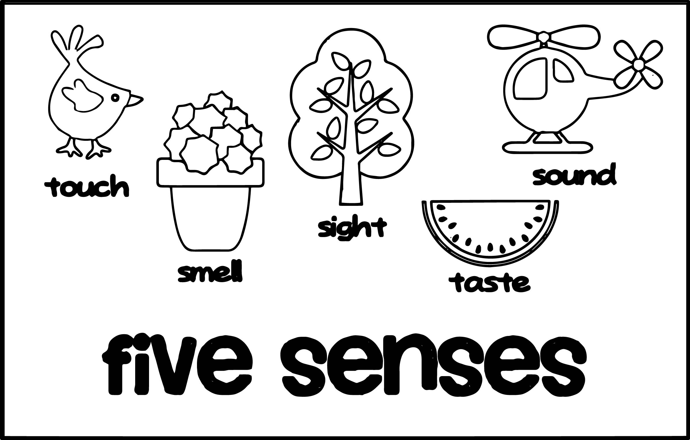 5 Senses Cute Coloring Page