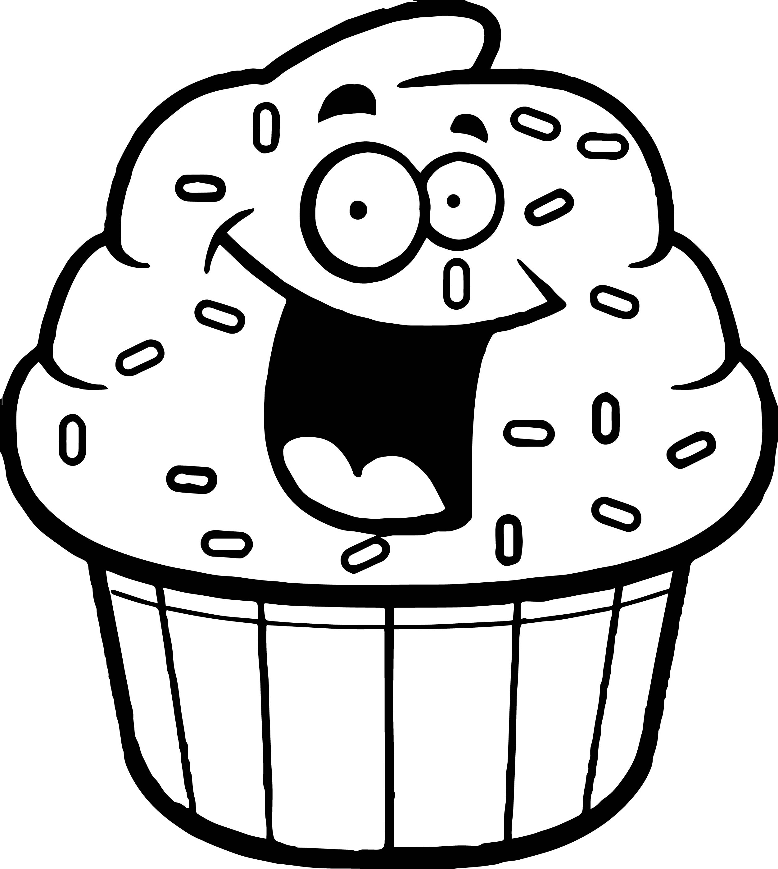 Amazing Cartoon Cupcake Coloring Page Outline Black White