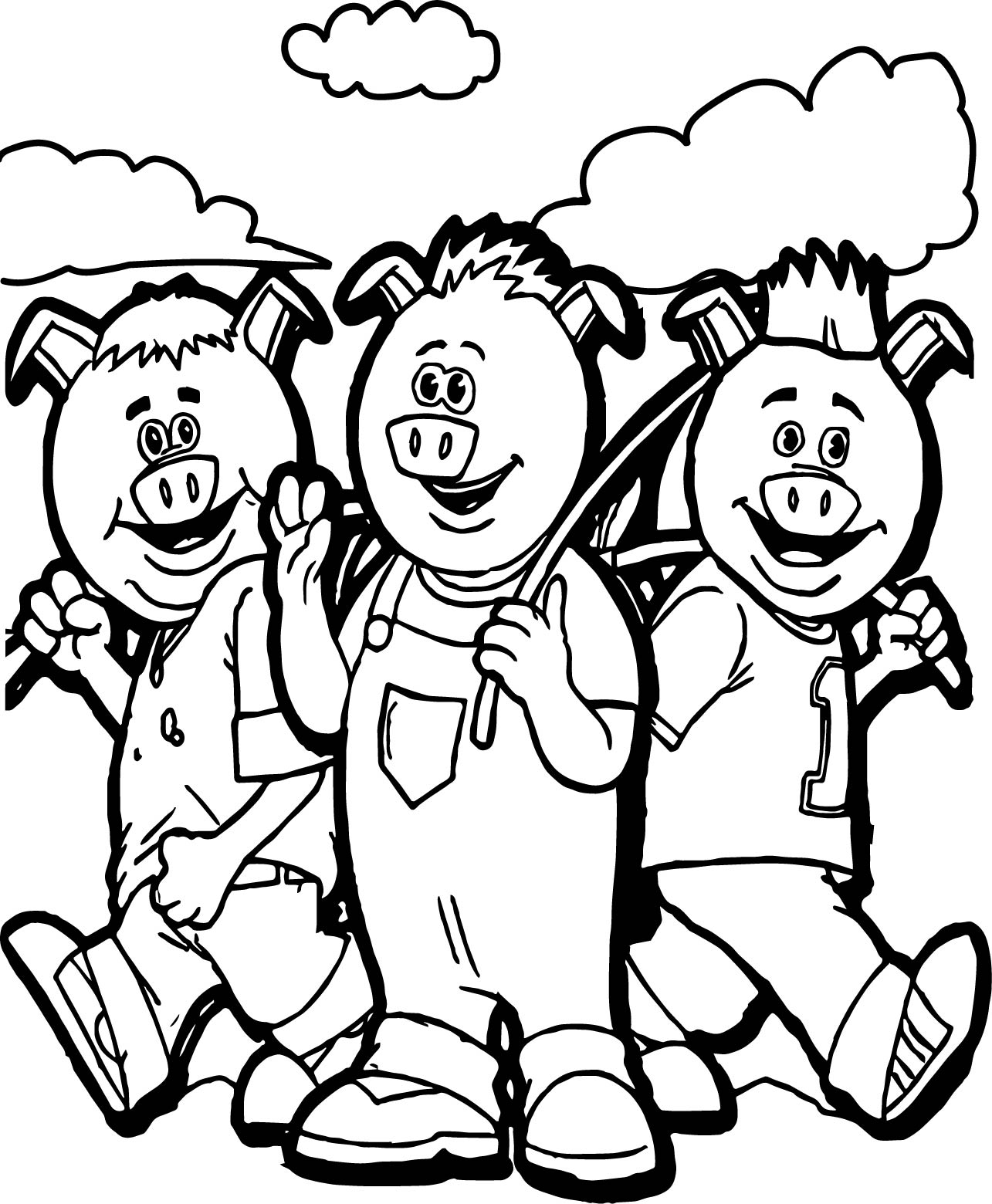 Going To Field 3 Little Pigs Coloring Page