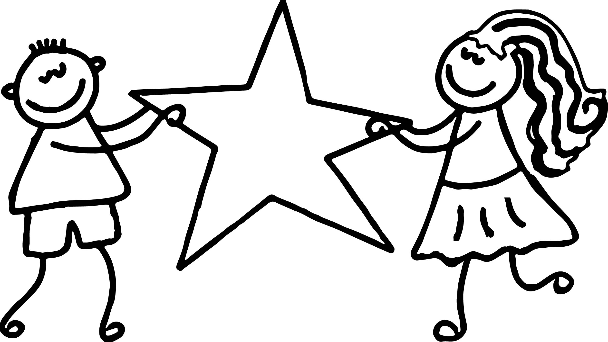 Kids Girl Boy Hold Star 3rd Grade Coloring Page