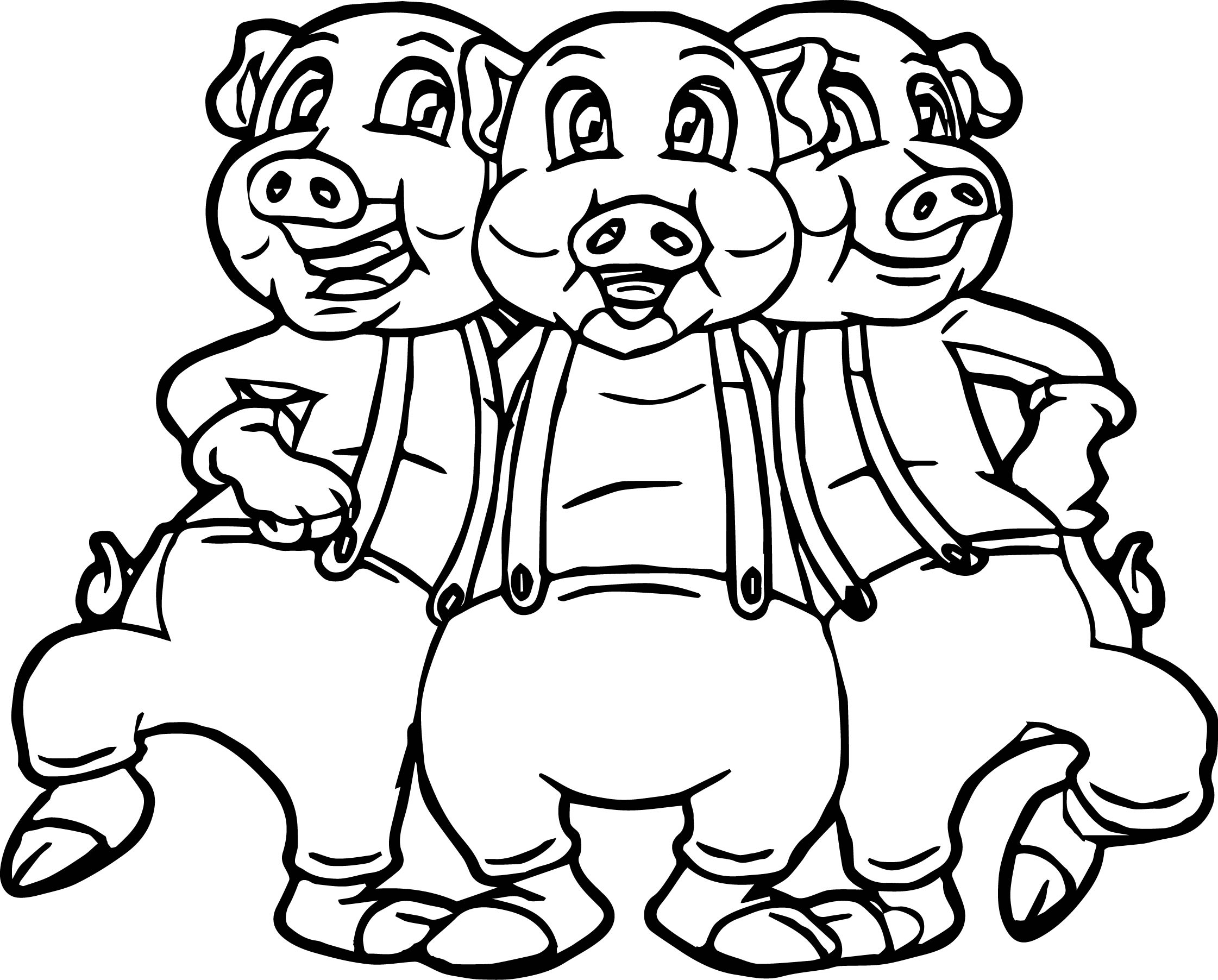 Cartoon Three Little Pigs Pages Coloring Pages