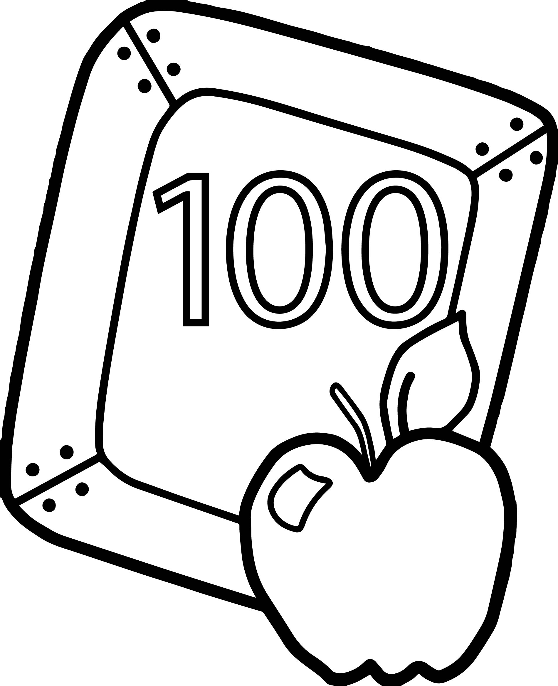 100th Day Of School Color By Number Sketch Coloring Page