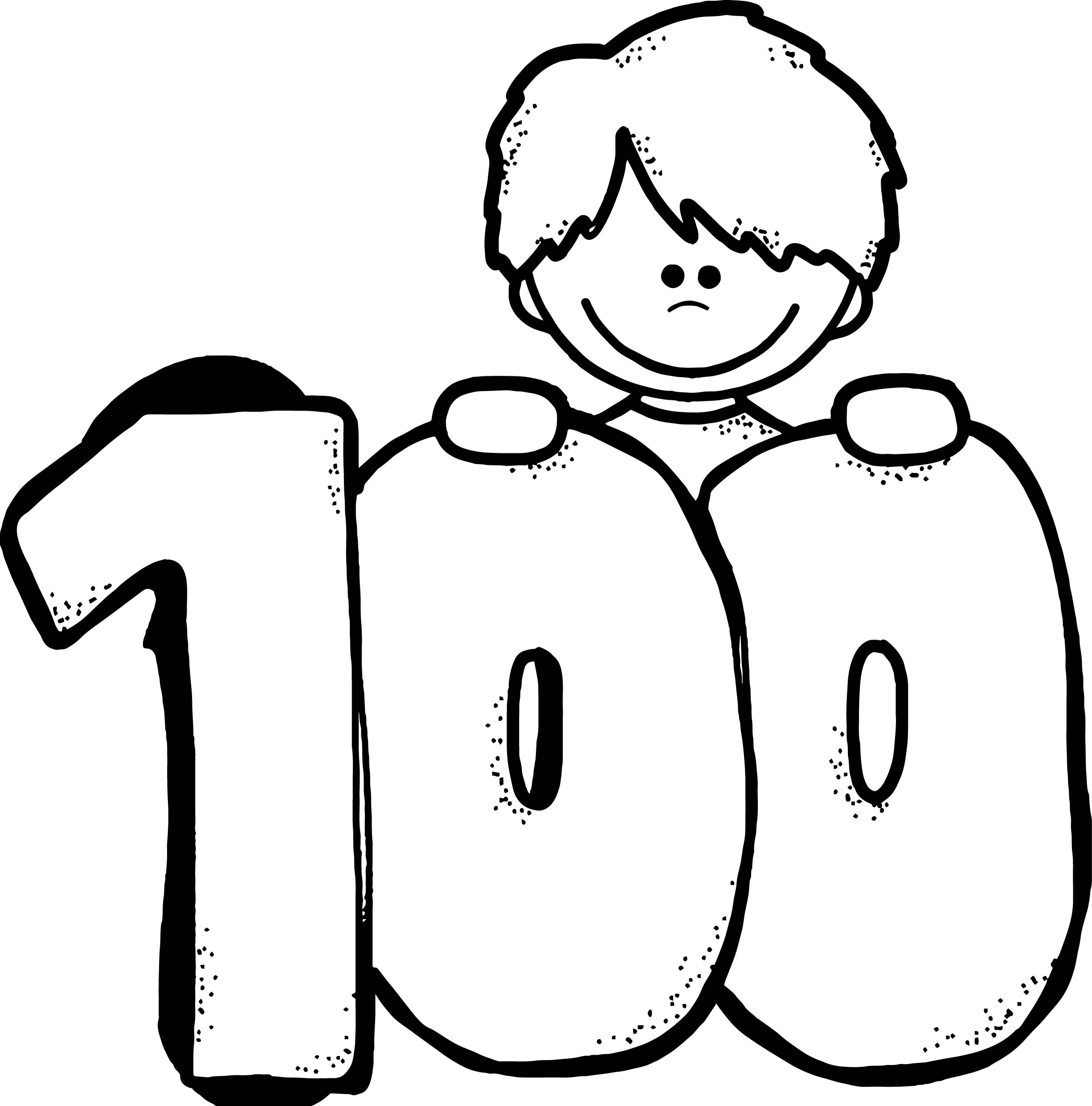 100 Days Of School Child Coloring Page