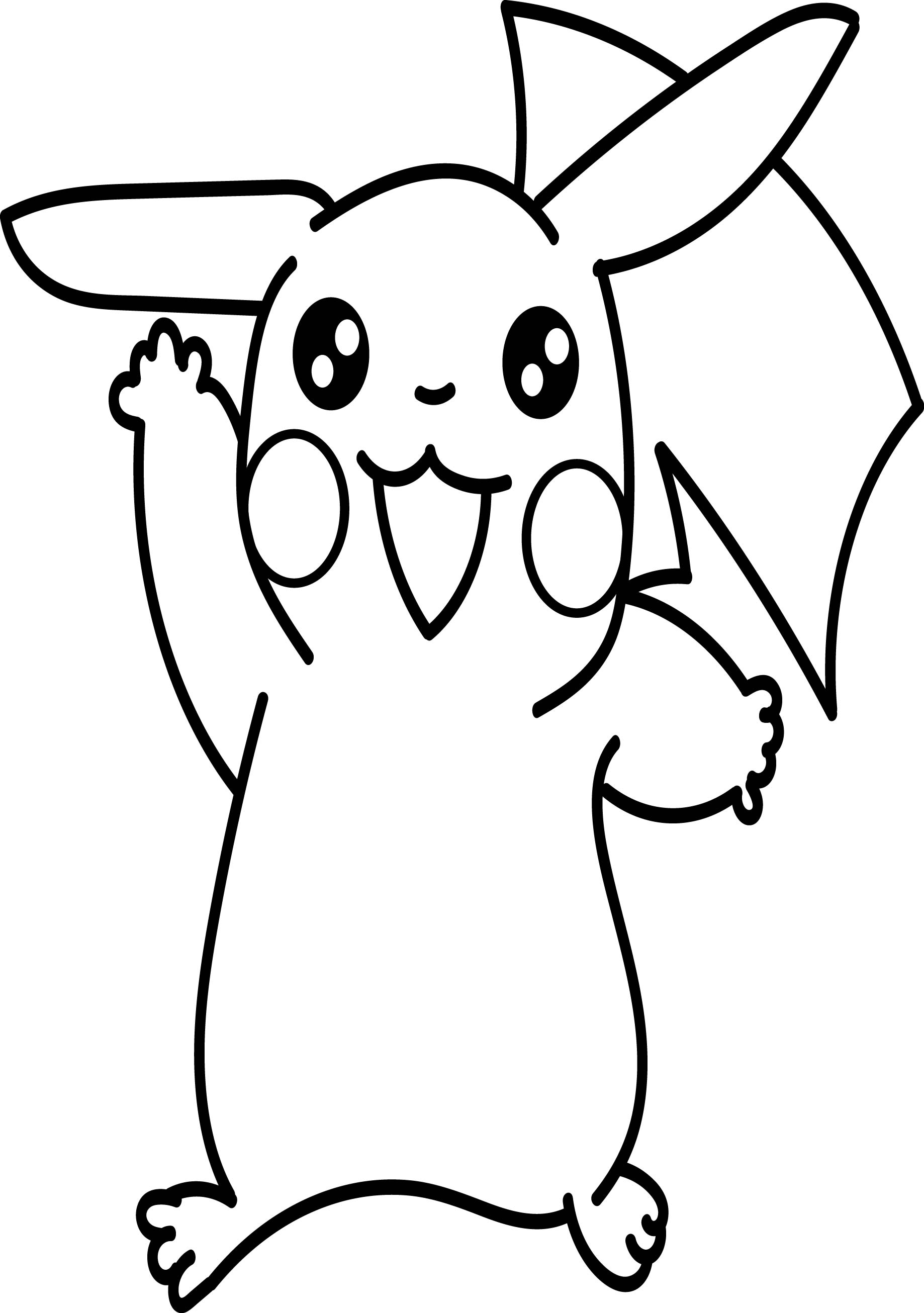 Pikachu Peace Coloring Page