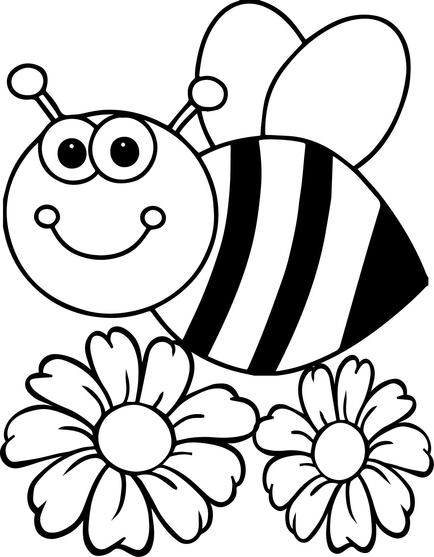 Bee Flower Coloring Page