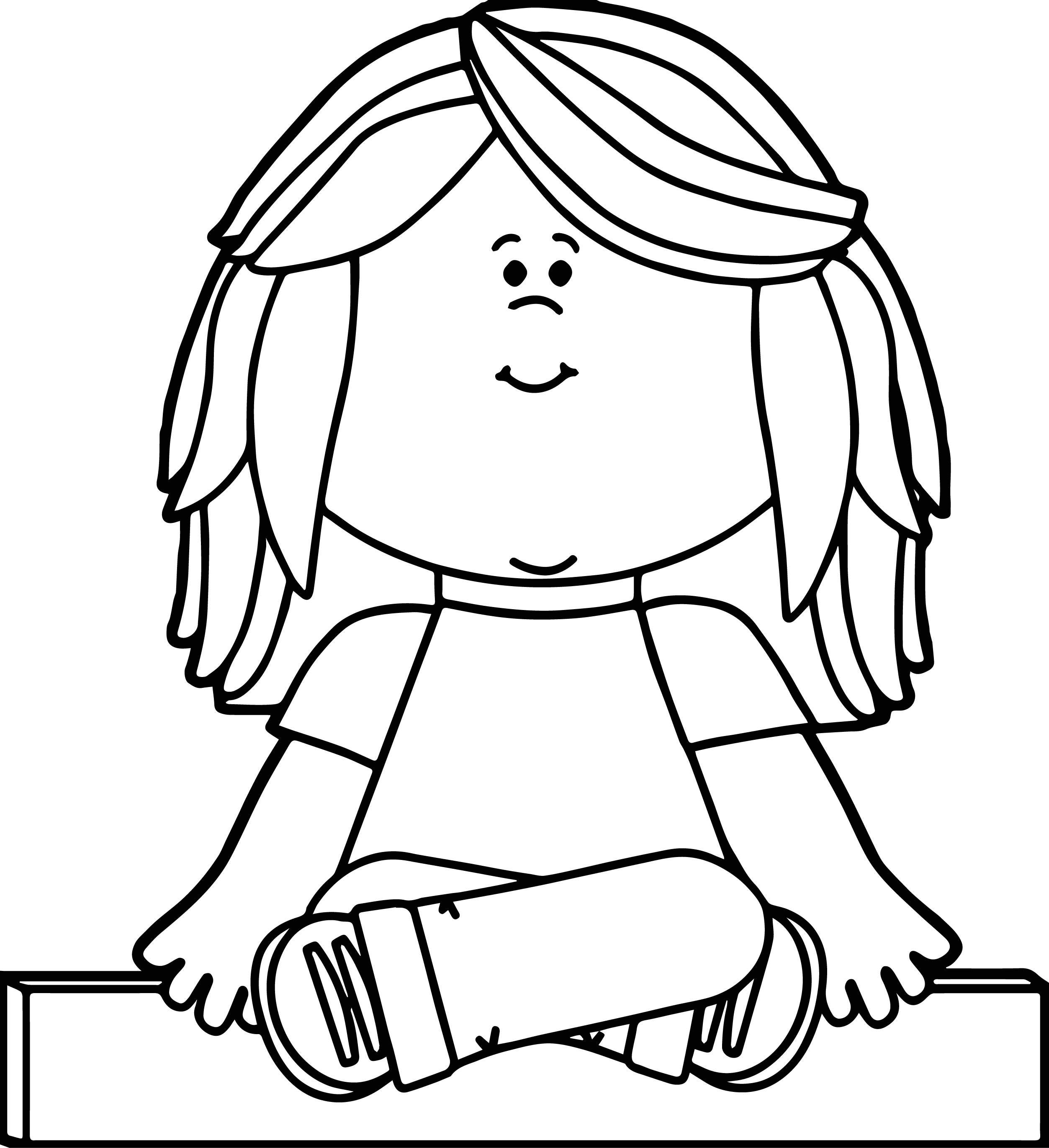 Kids Sitting Criss Cross Applesauce Sketch Coloring Page