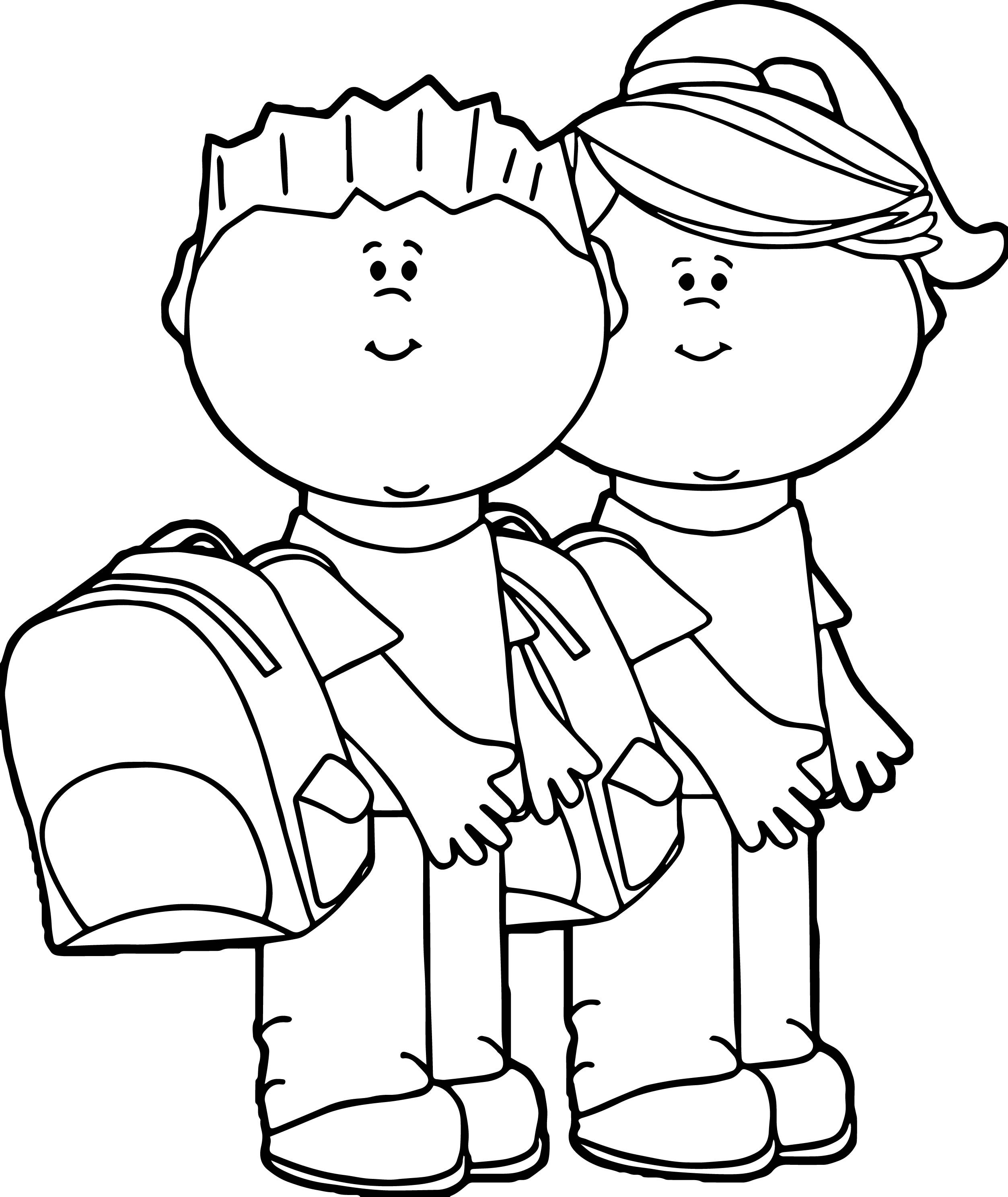 Kids Going To School Kids Coloring Page