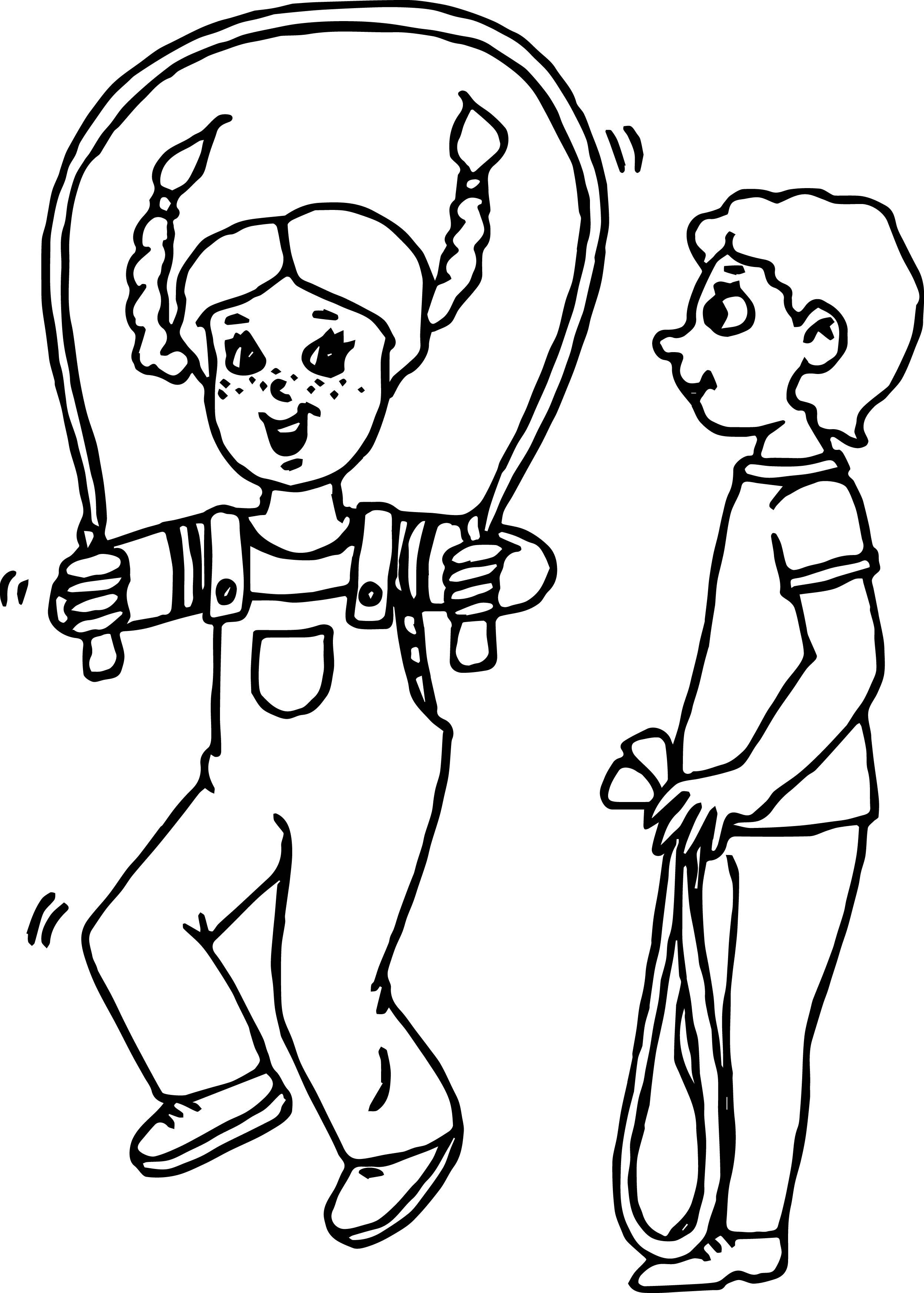 Kids Jumping Rope Kids Coloring Page