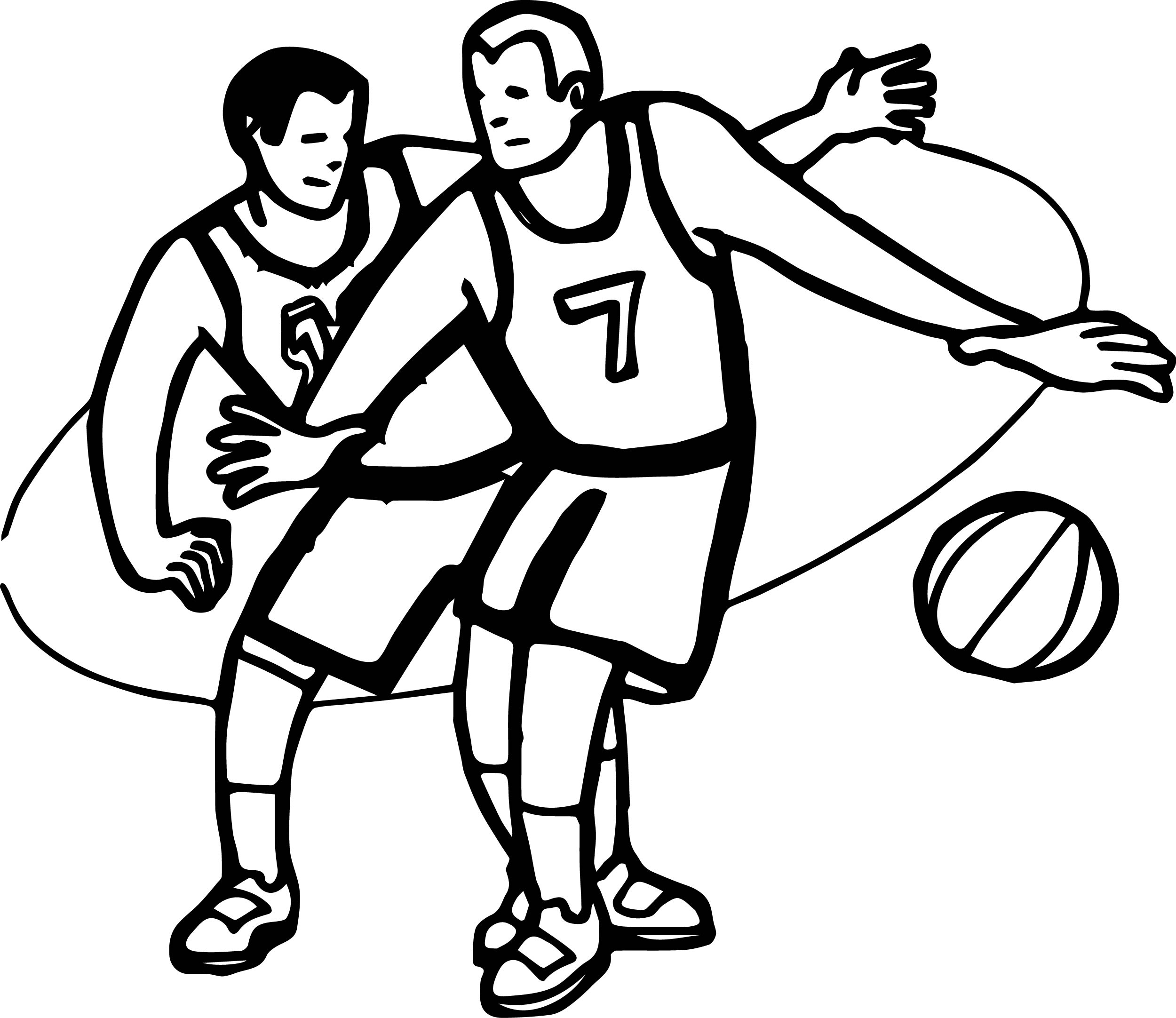 Kids Playing Basketball Coloring Page