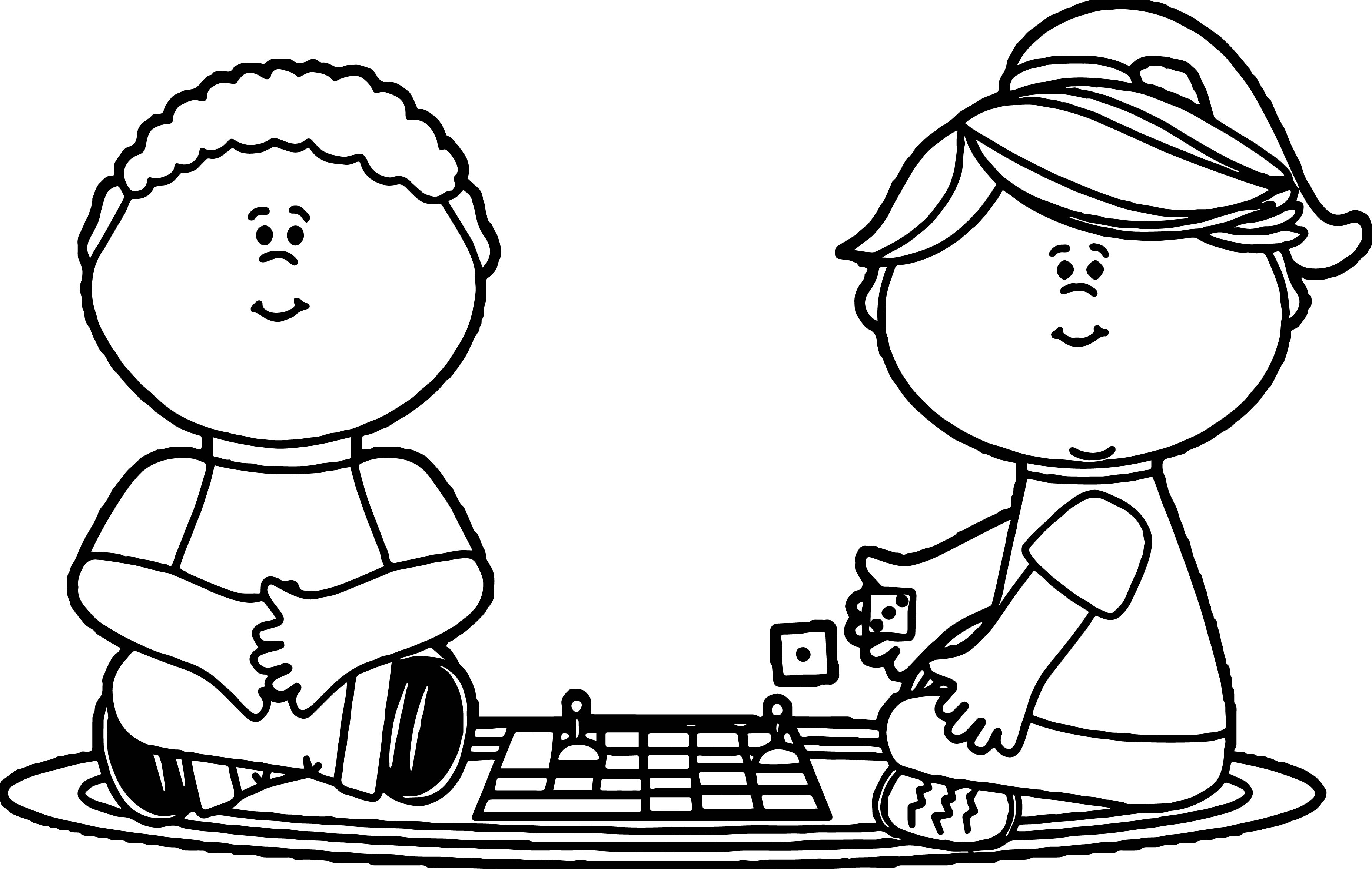 Kids Playing Board Games Coloring Page Wecoloringpage