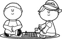 Kids Playing Board Games Coloring Page   Wecoloringpage.com