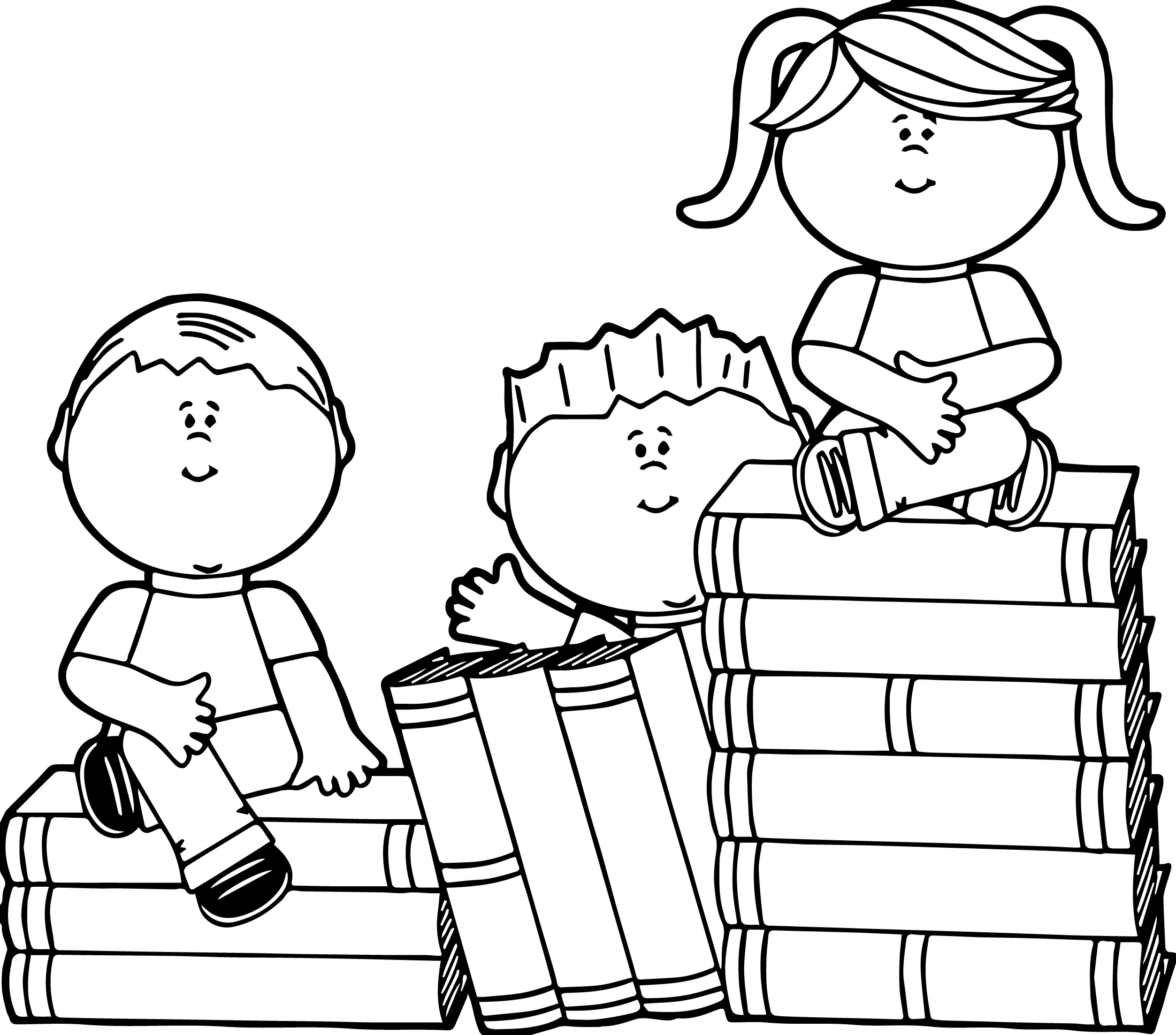Kids Sitting On Books Kids Coloring Page