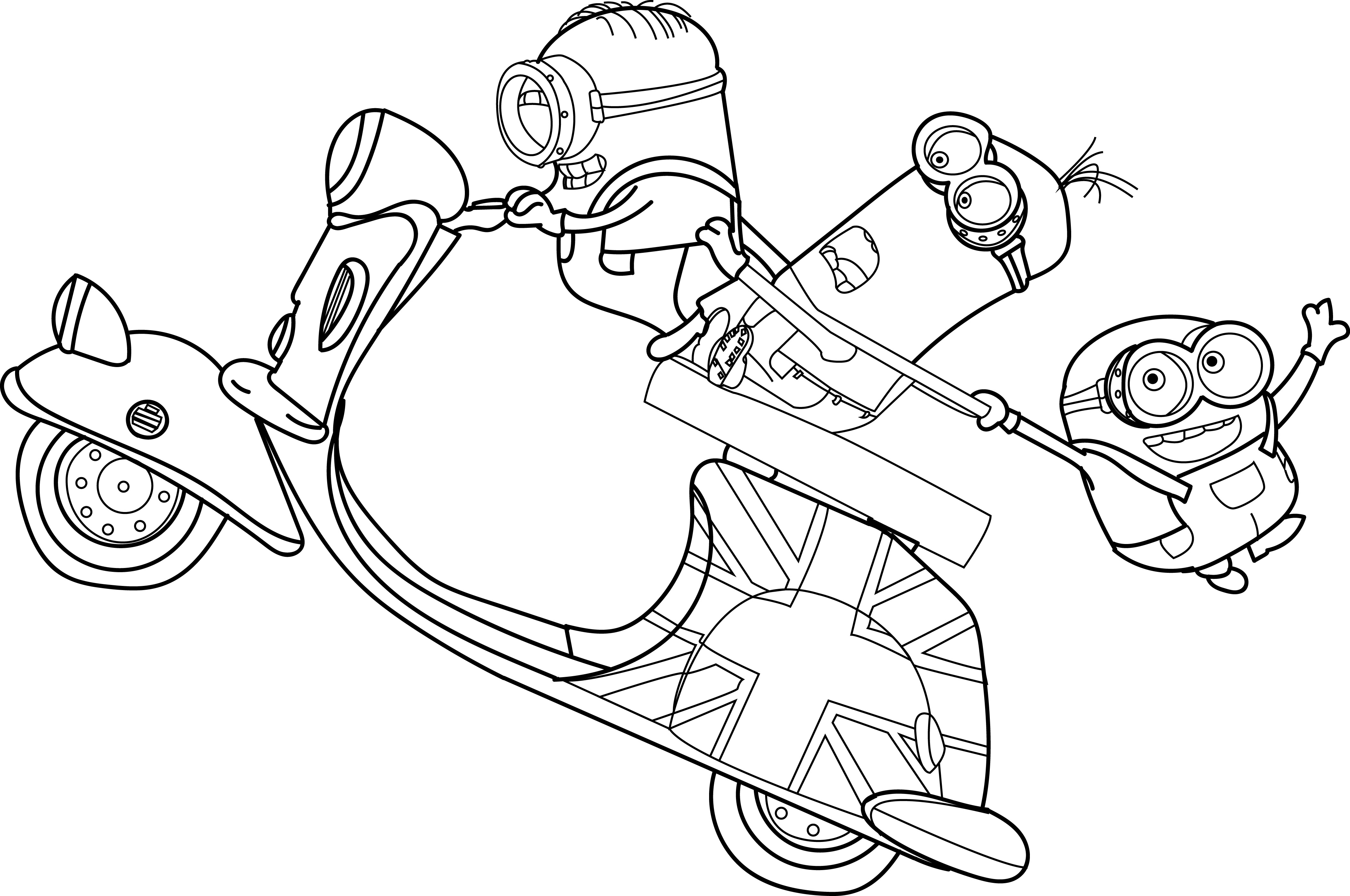 Minions Drive Bike Movie Funny Coloring Page