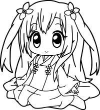 Very Cute Anime Girl Coloring Page   Wecoloringpage.com