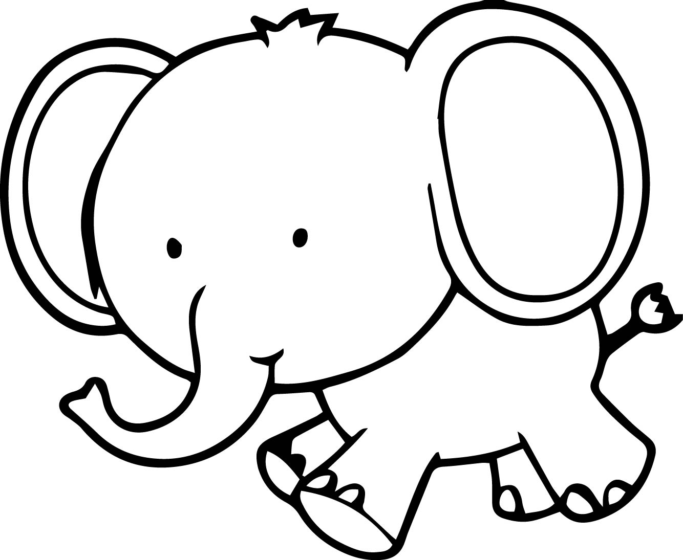 Very Cute Small Elephant Coloring Page