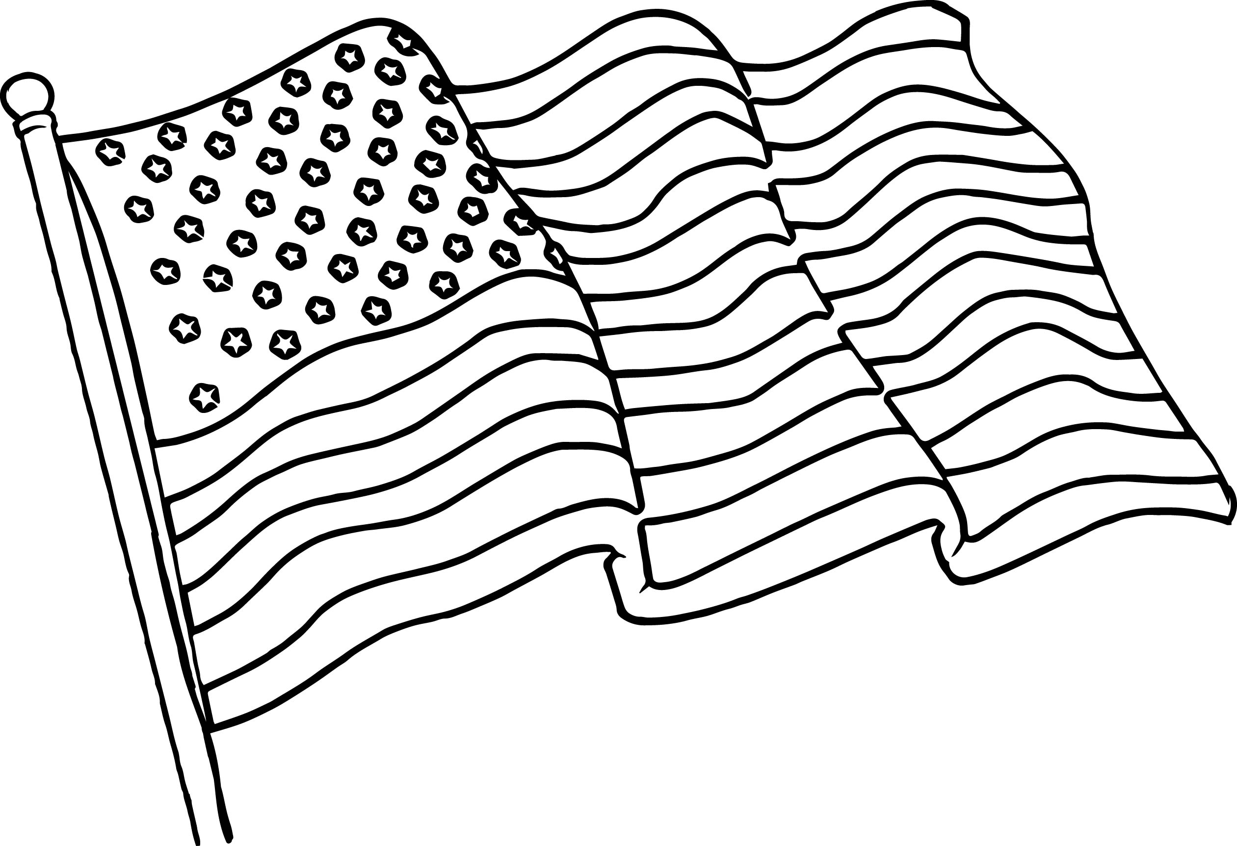 Waving American Flag Coloring Page