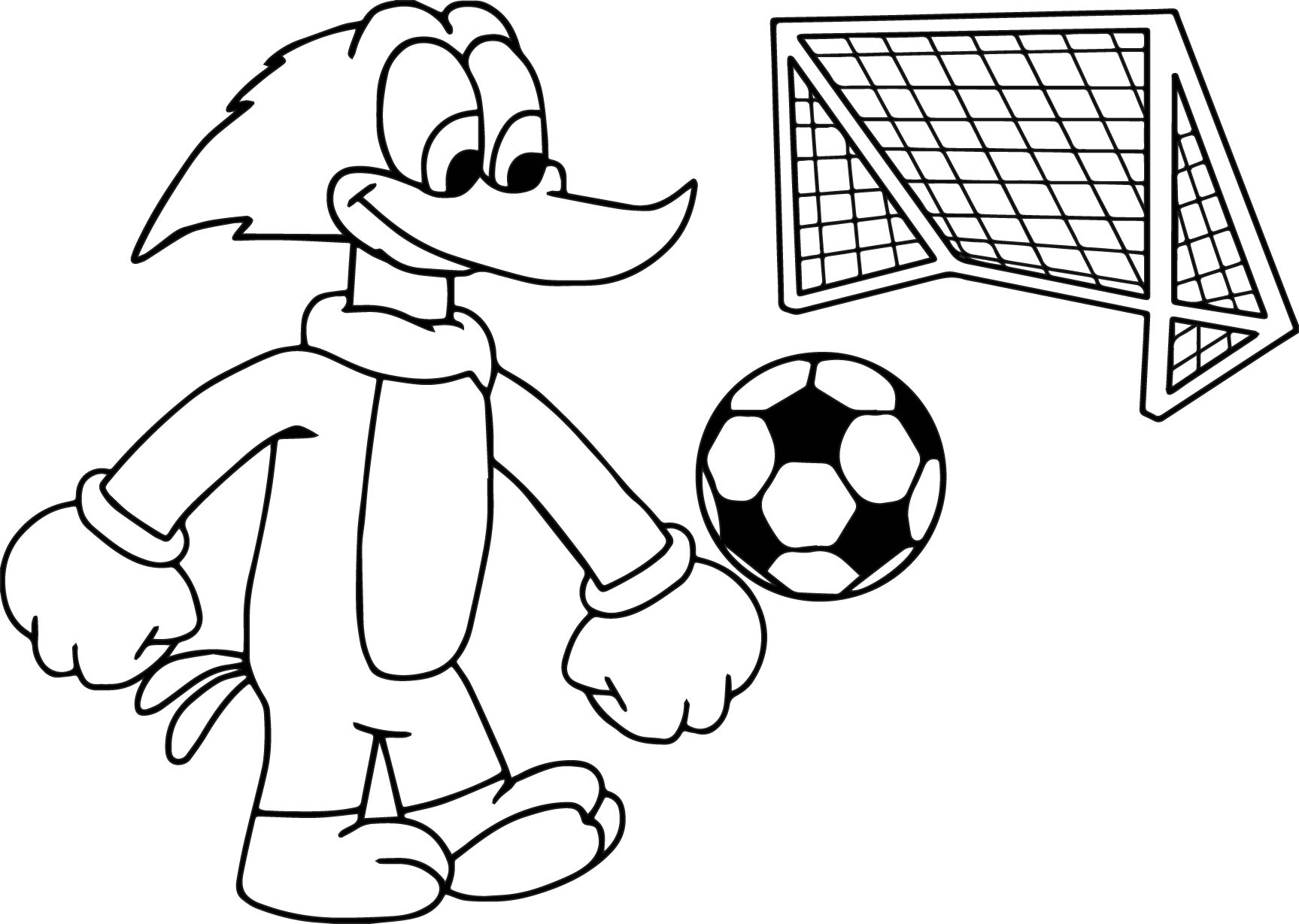 Woody Woodpacker Play Football Soccer Coloring Page