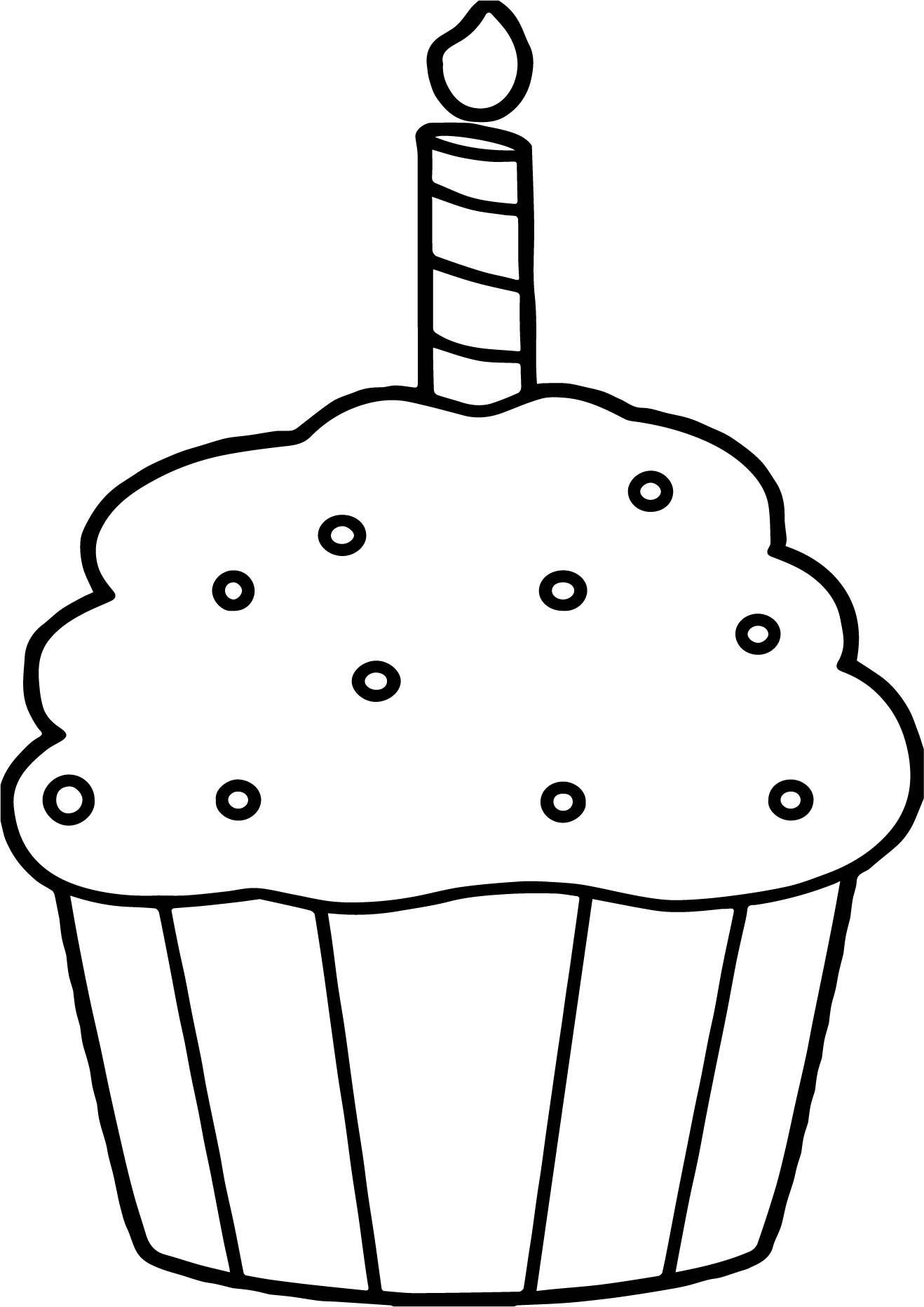 Birthday Cupcake Coloring Page