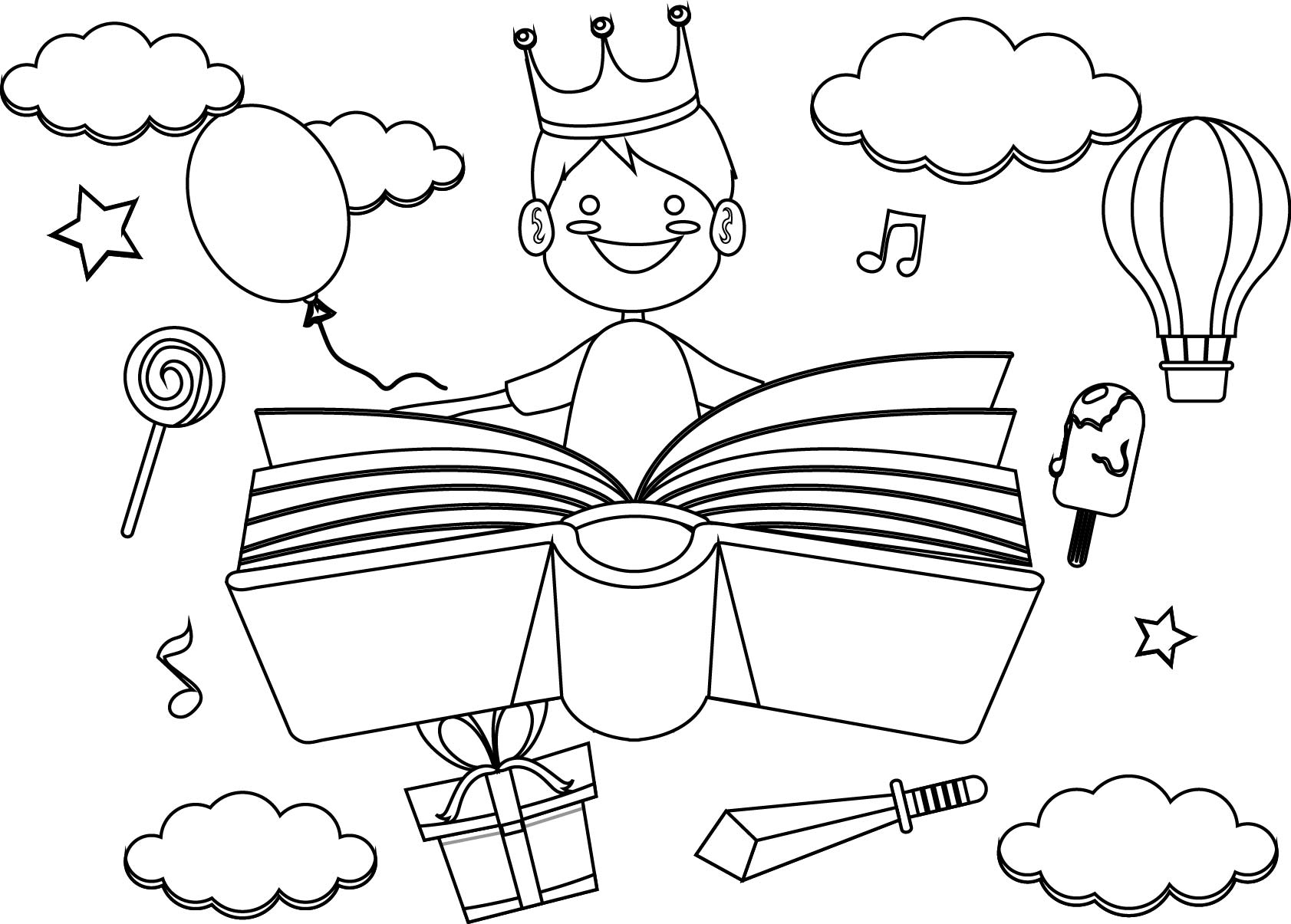 Boy Imagination Dreams Reading Book Coloring Page