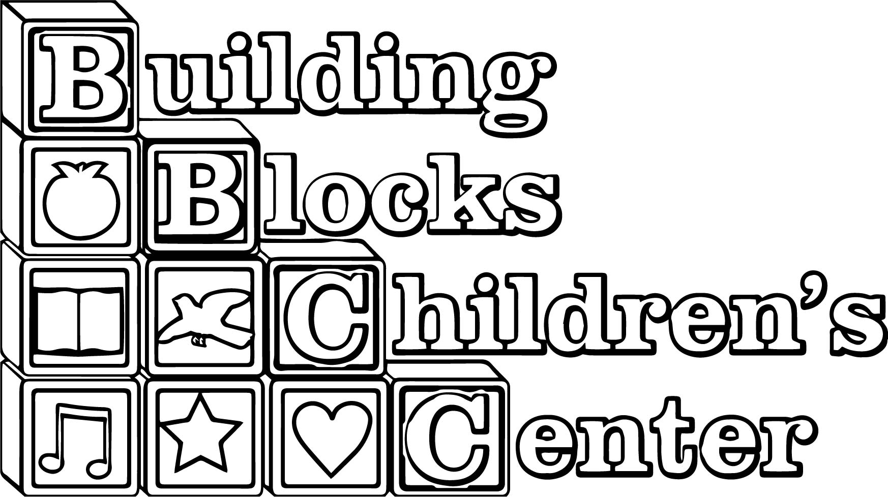 Building Blocks Children Center Coloring Page