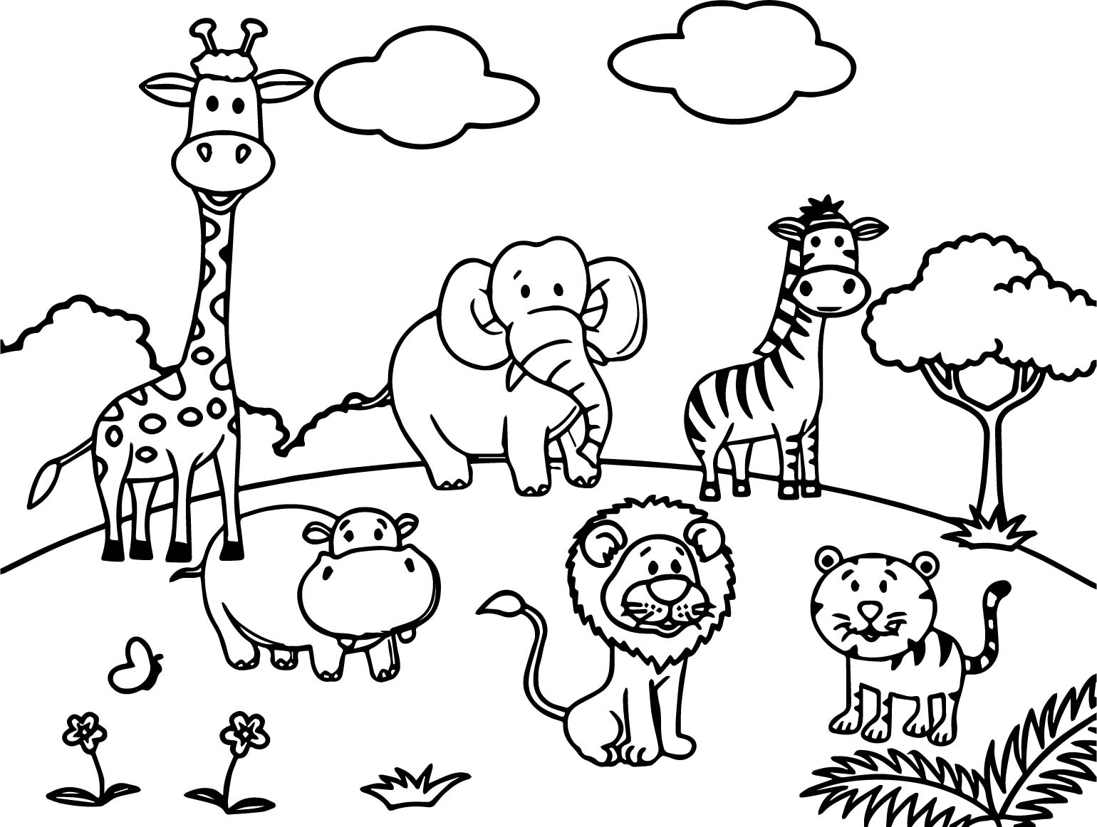 Cartoon Animals All Coloring Page