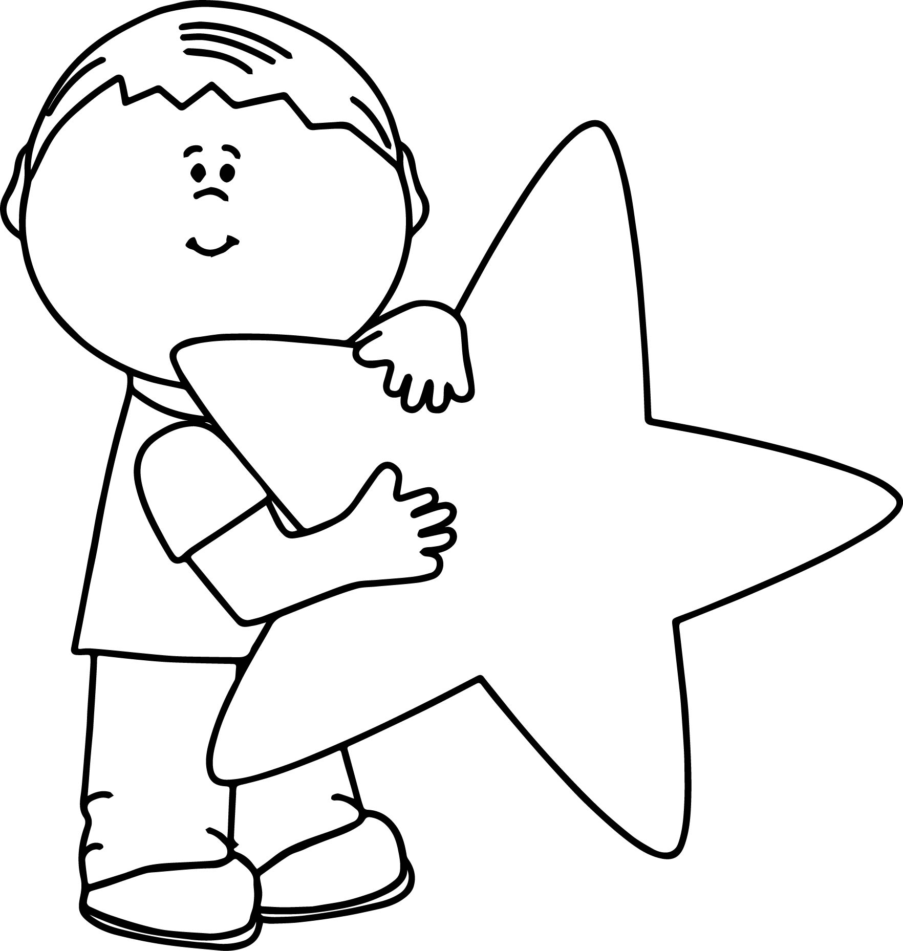 Child And Happy Star Coloring Page
