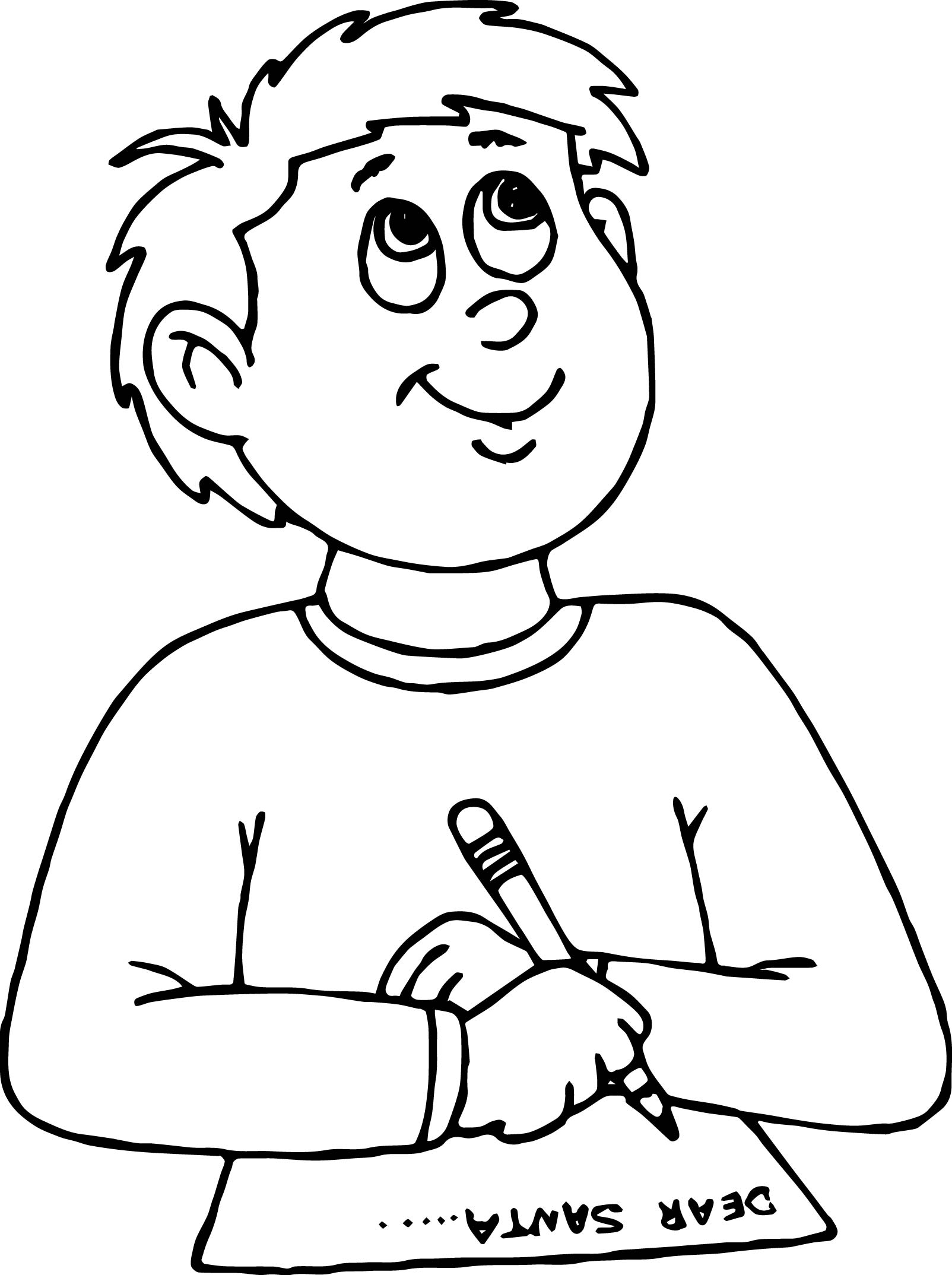 Dear Santa Write Boy Coloring Page