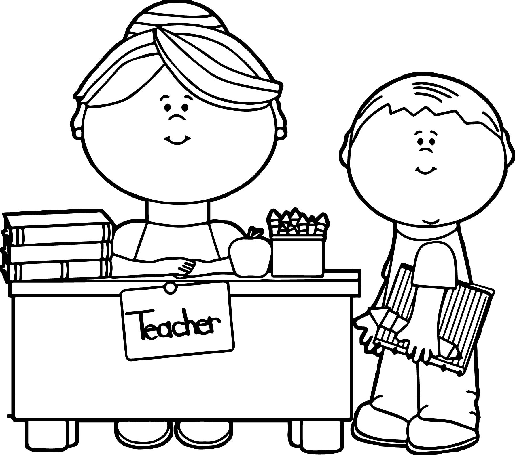 English Teacher And Student Coloring Page Wecoloringpage