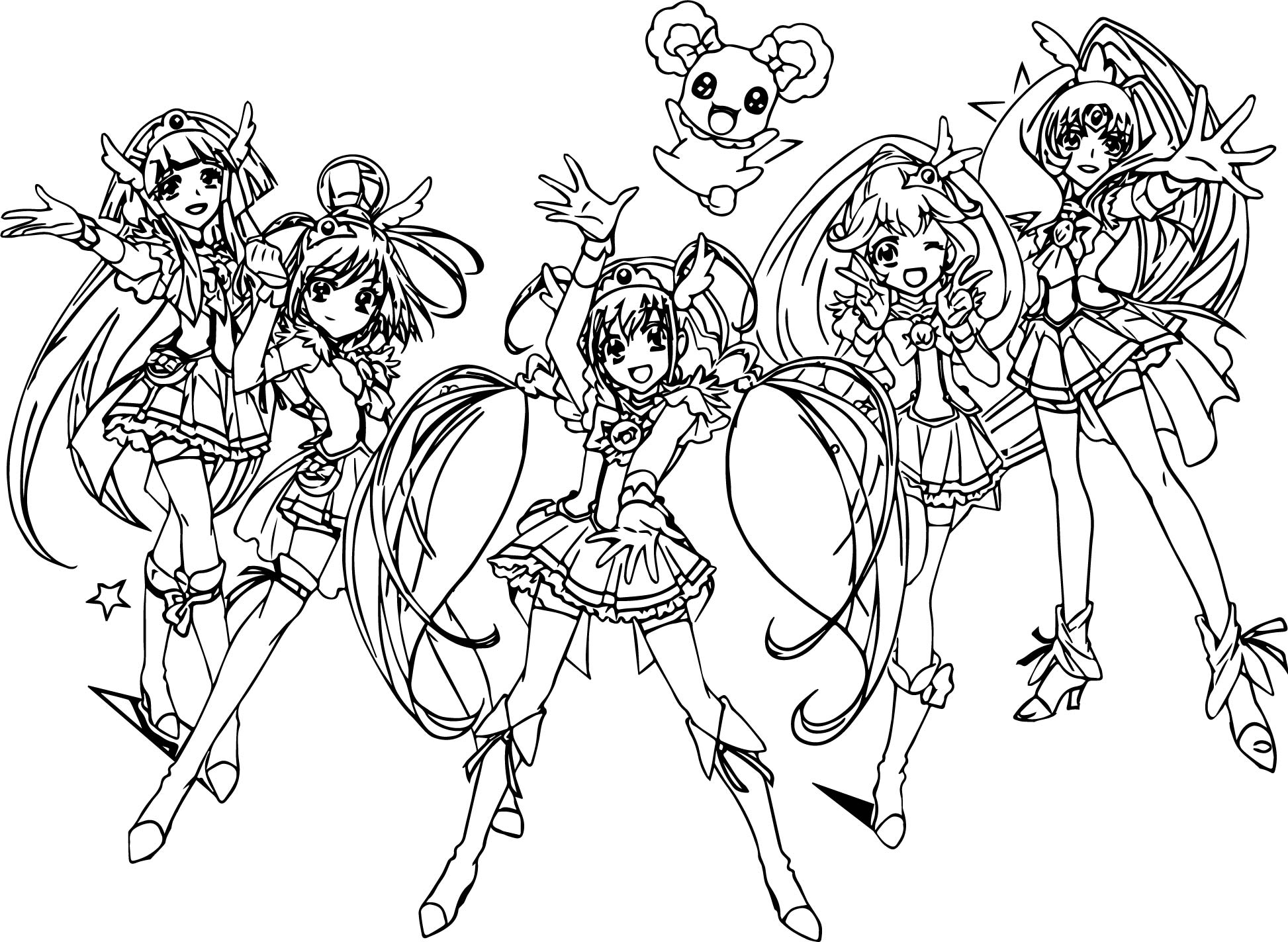 Glitter Force All Group Team Coloring Page Wecoloringpage