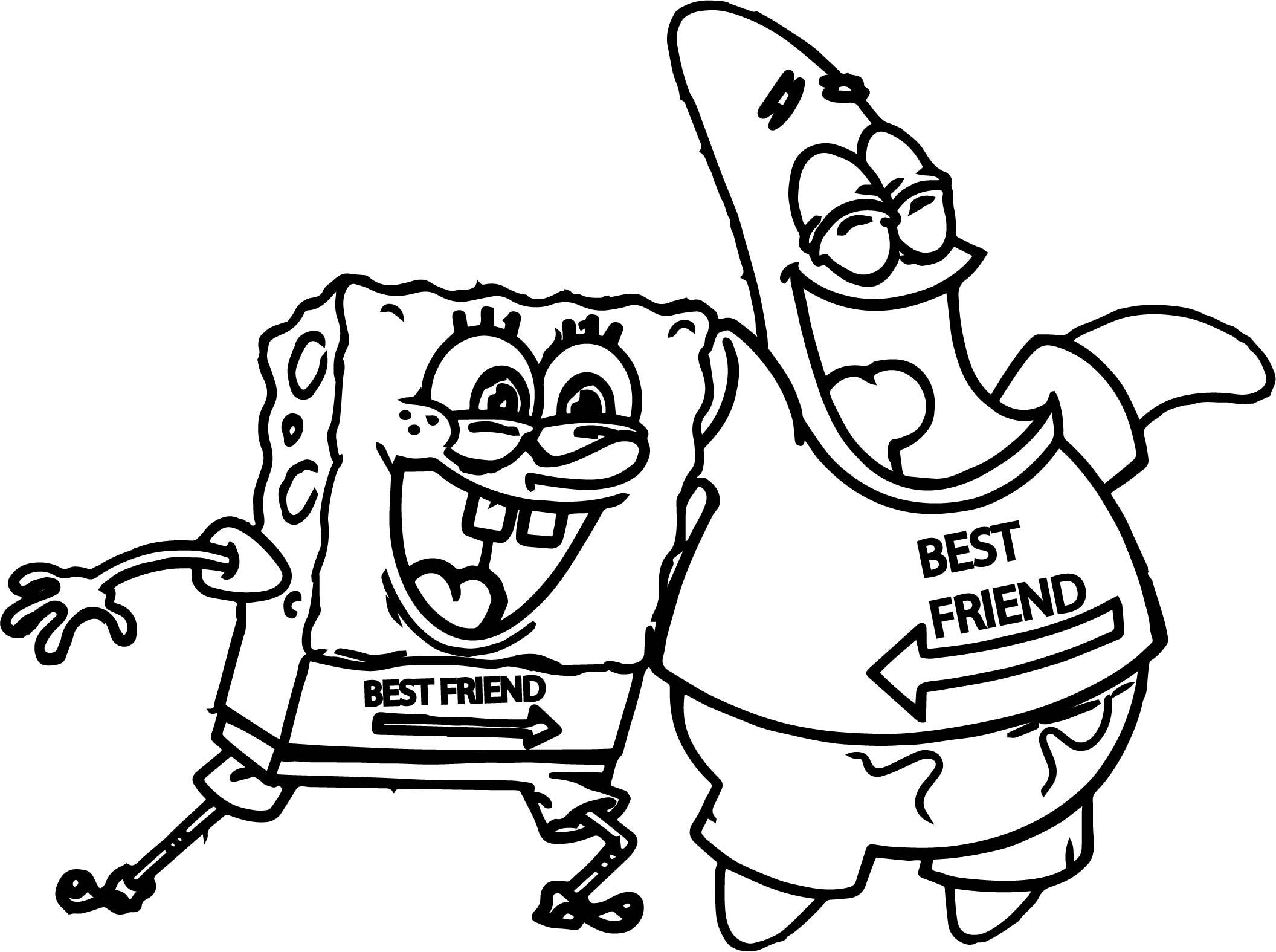 Sponge Sunger Bob Patrick Best Friends Coloring Page