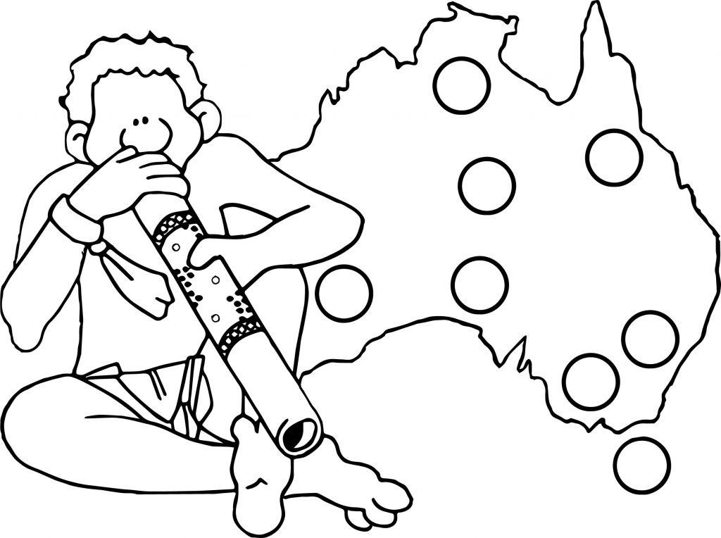 Australia Map And Man Aboriginal Coloring Page