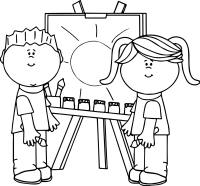 Boy And Girl Art Paint Coloring Page | Wecoloringpage.com