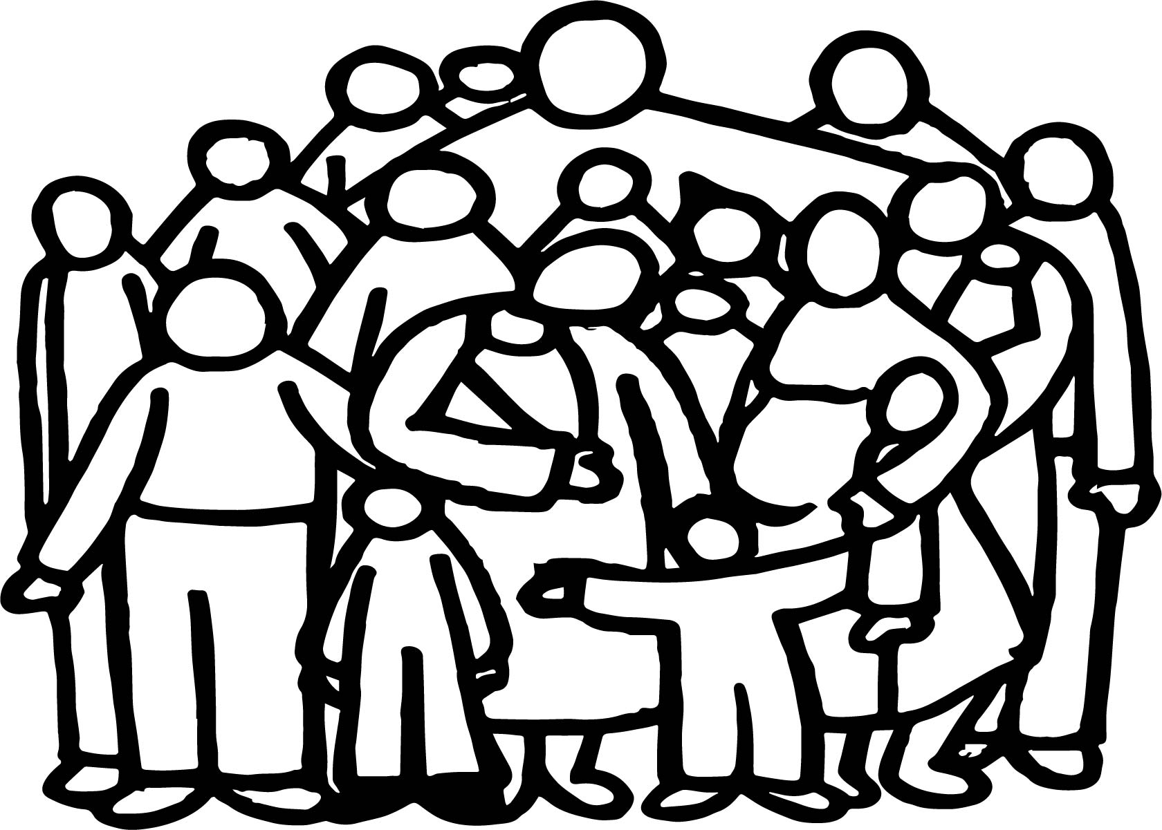 Church Family People Outline Coloring Page