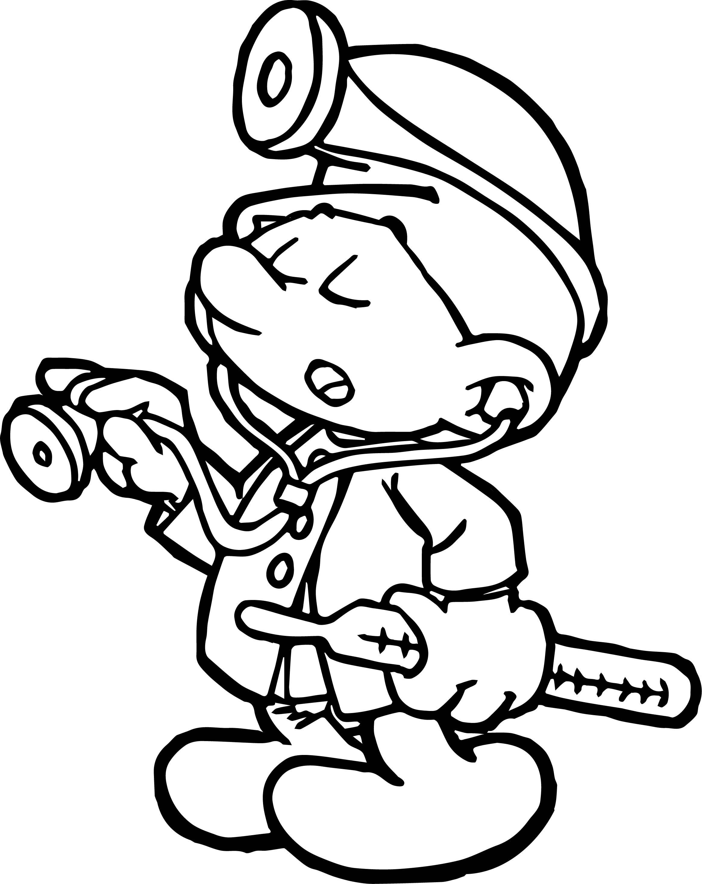 Doctor Smurf Coloring Page Wecoloringpage