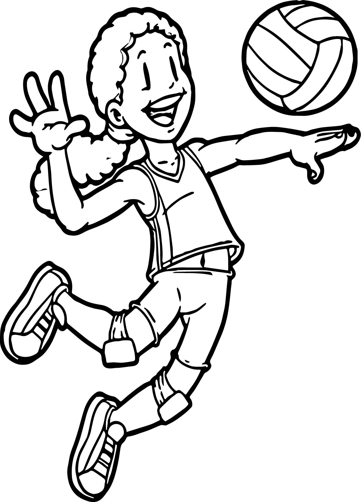 Kids Playing Sports Volleyball Coloring Page