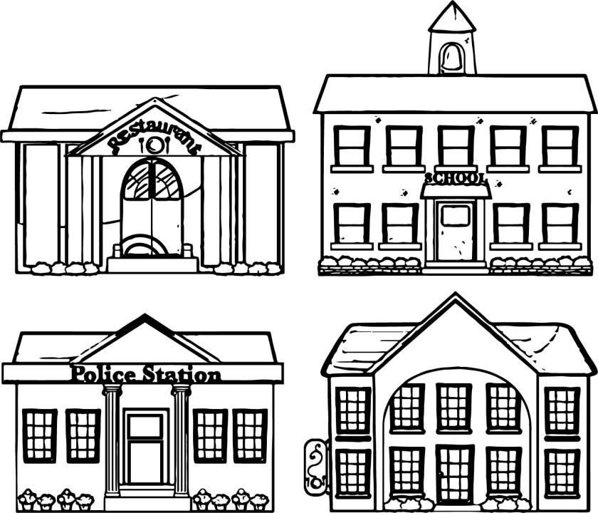 restaurant school police building coloring page