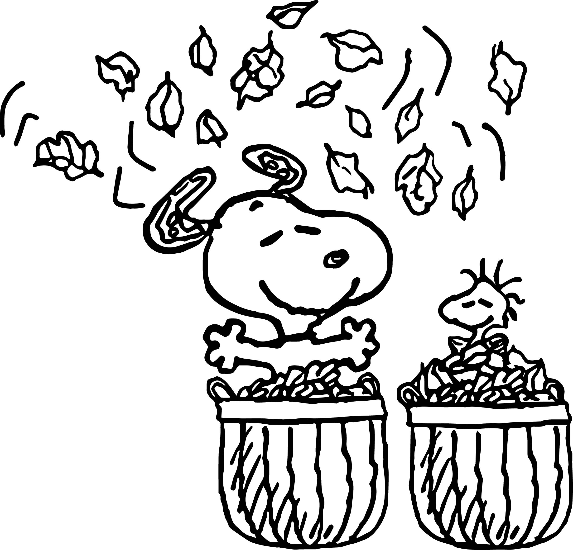 Snoopy Autumn Coloring Page